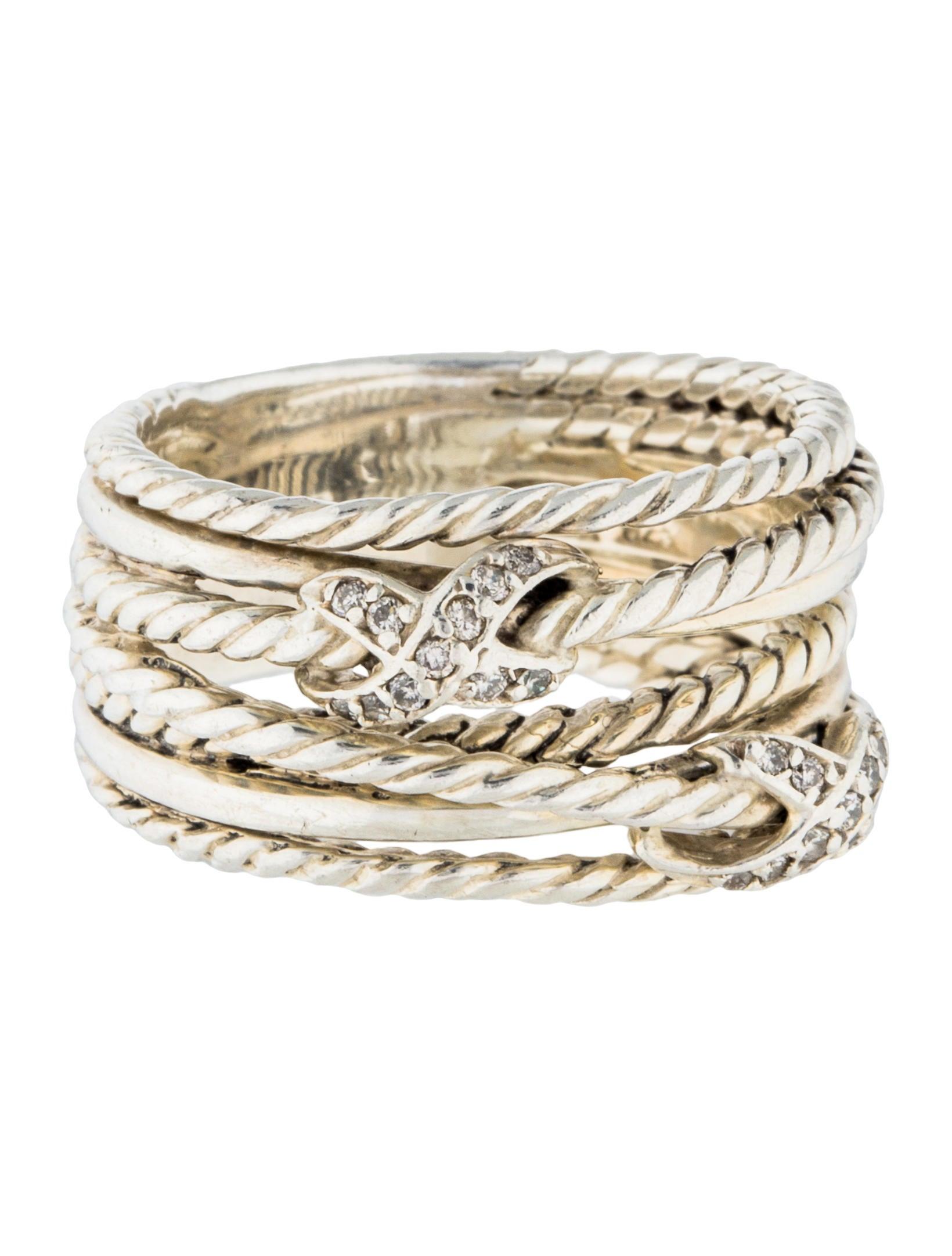 David yurman diamond double x crossover ring rings for David yurman inspired jewelry rings