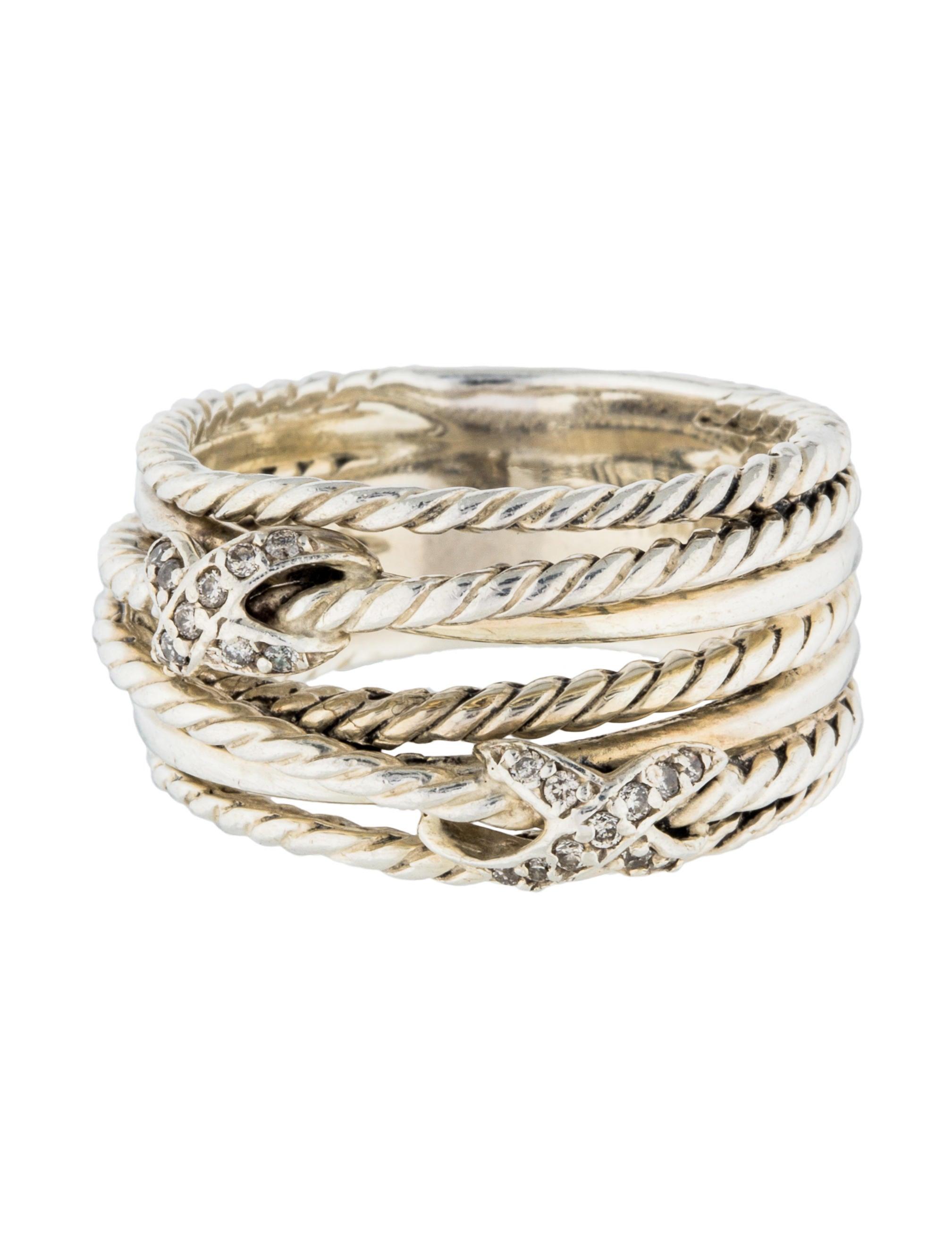 David Yurman Diamond Double X Crossover Ring - Rings ...
