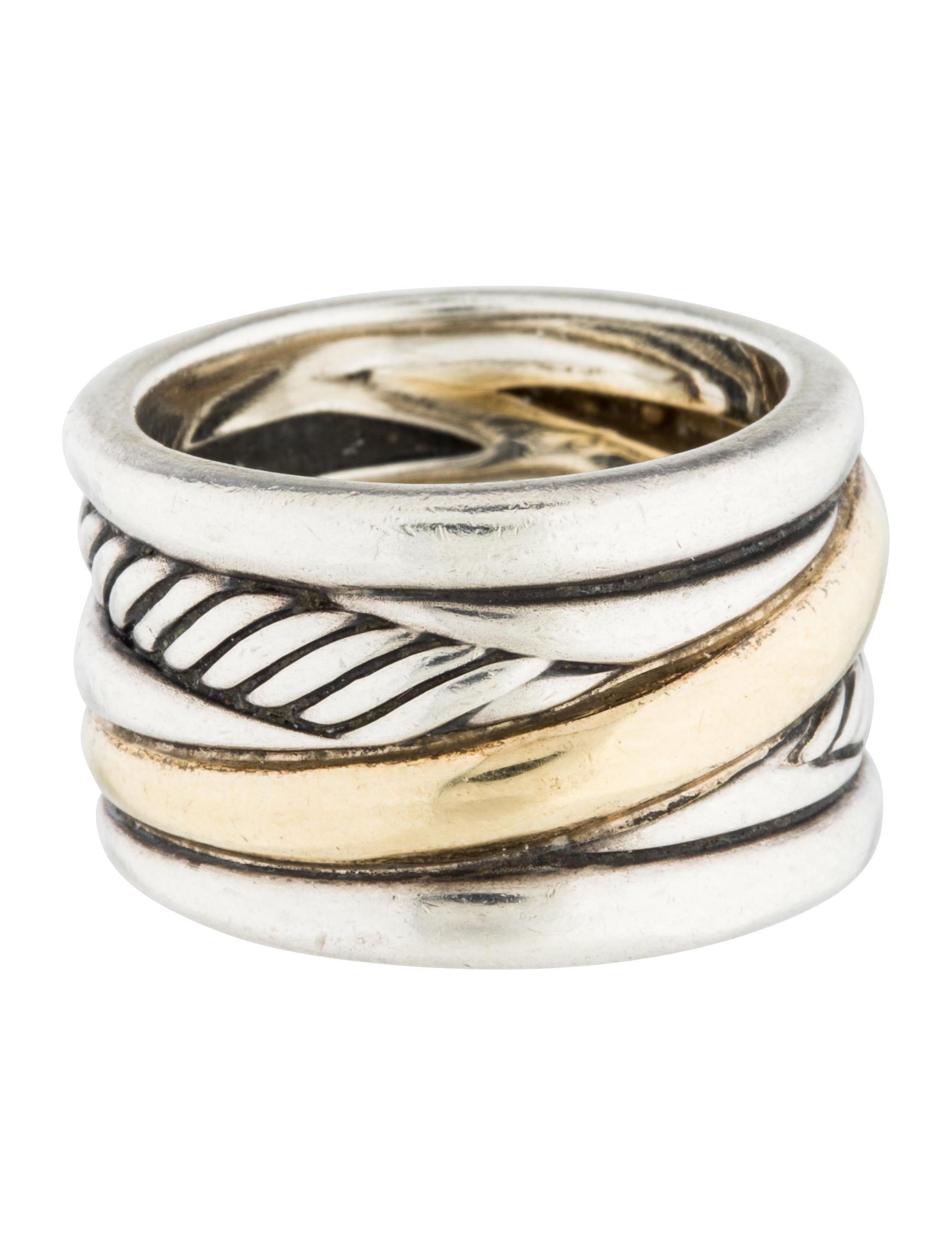 David yurman two tone cable ring rings dvy38852 the for David yurman inspired jewelry rings