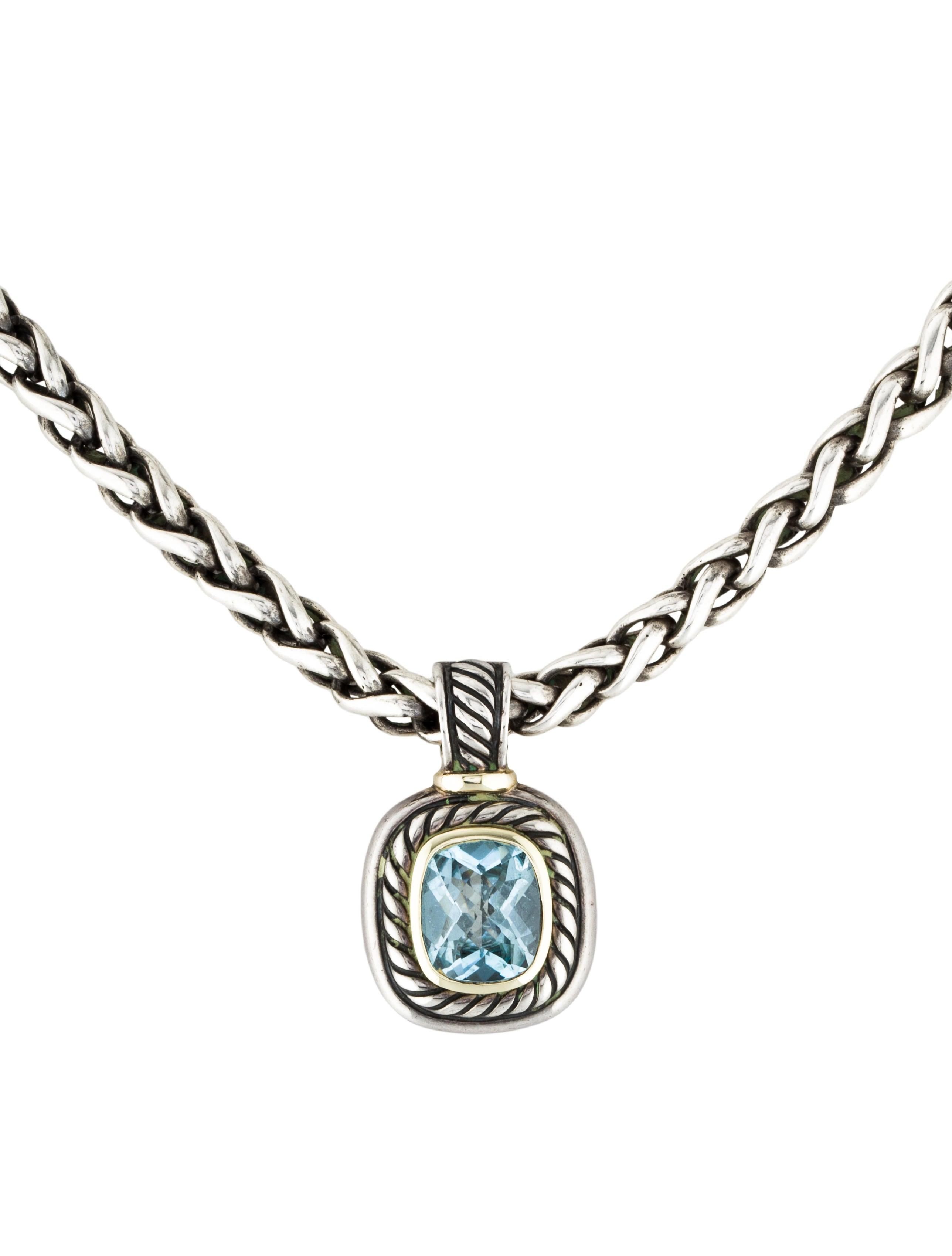 David Yurman Two Tone Blue Topaz Albion Pendant Necklace