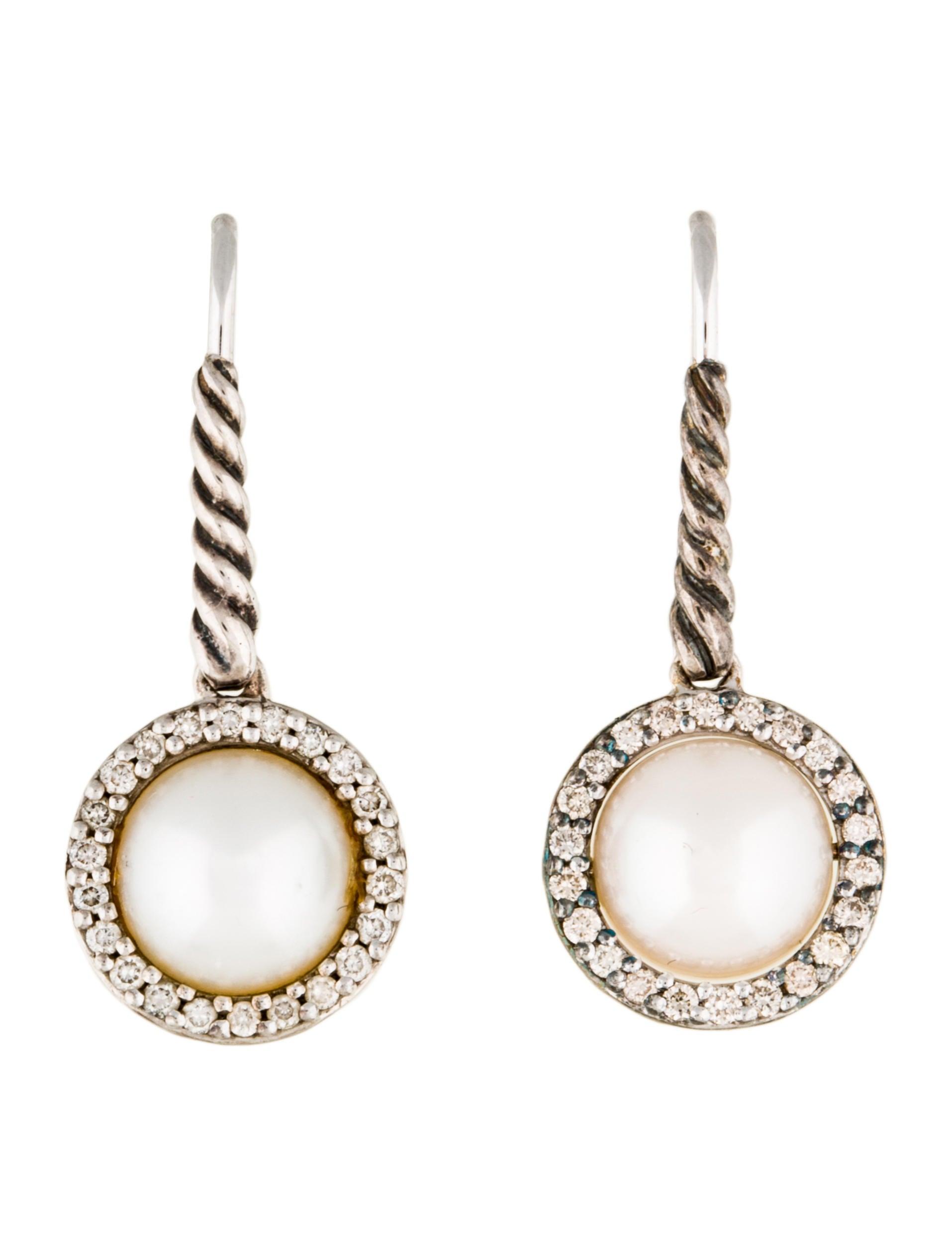 david yurman cable pearl drop earrings