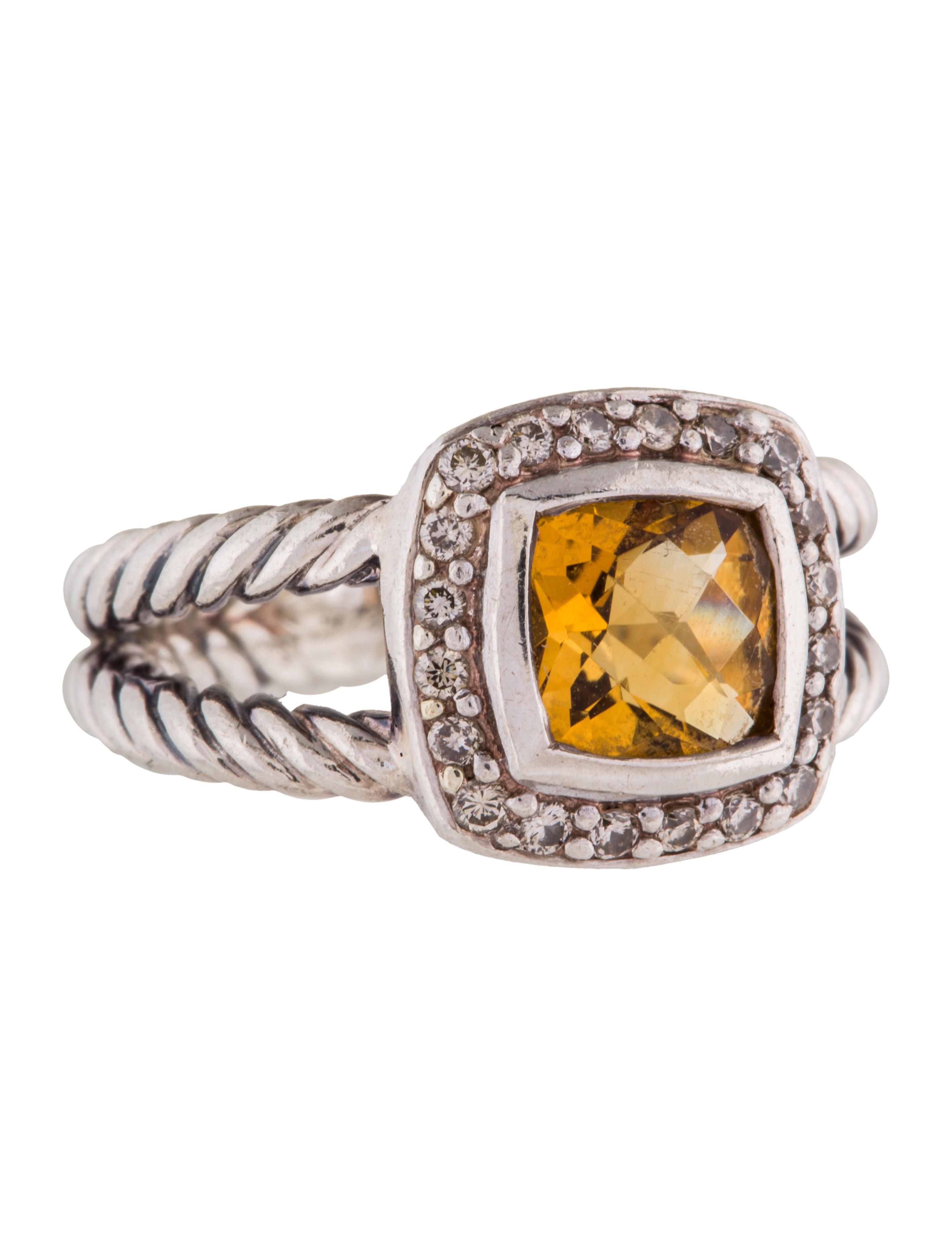 David yurman diamond citrine petite albion ring rings for David yurman inspired jewelry rings