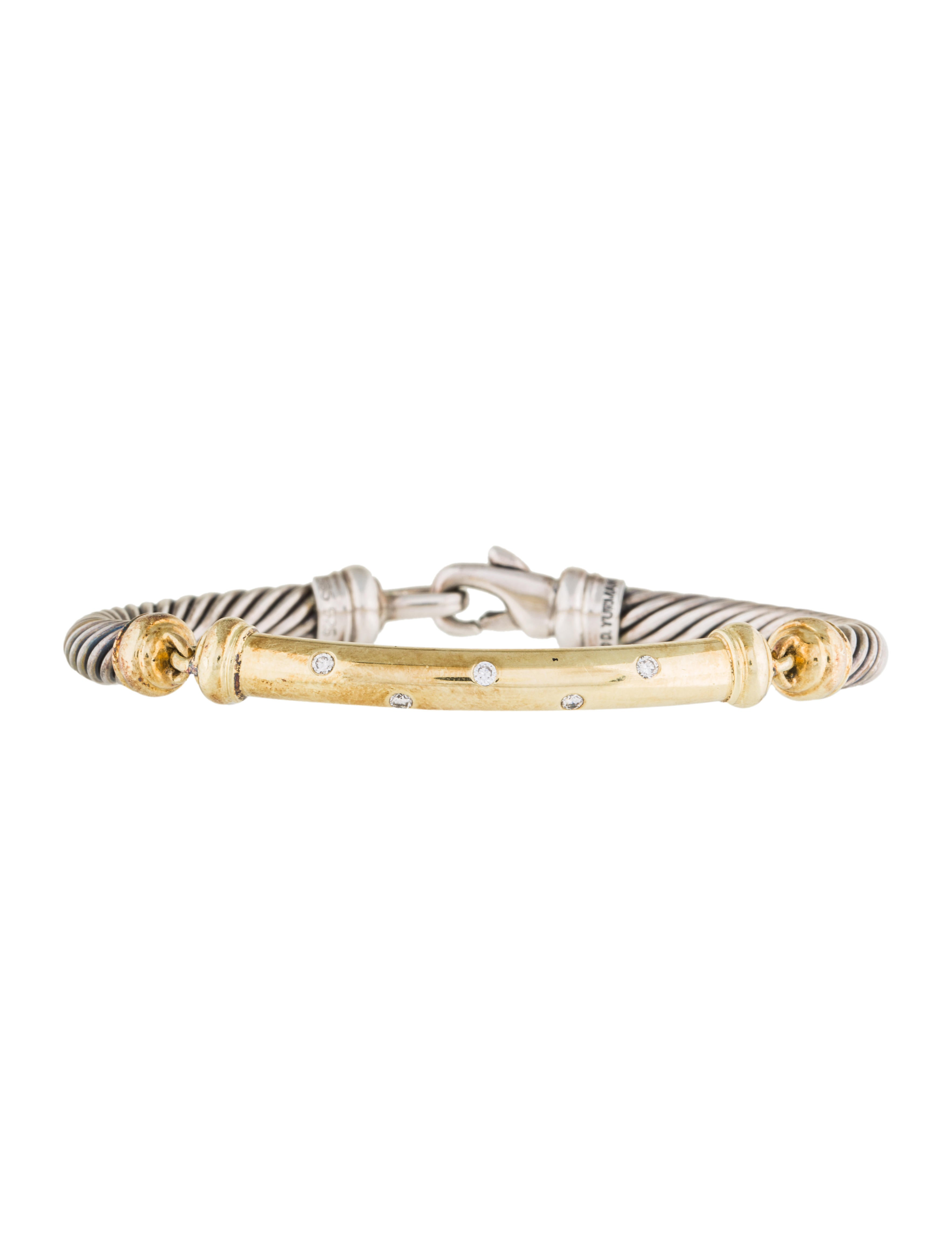 David yurman two tone diamond metro cable bracelet for David yurman inspired bracelet cable
