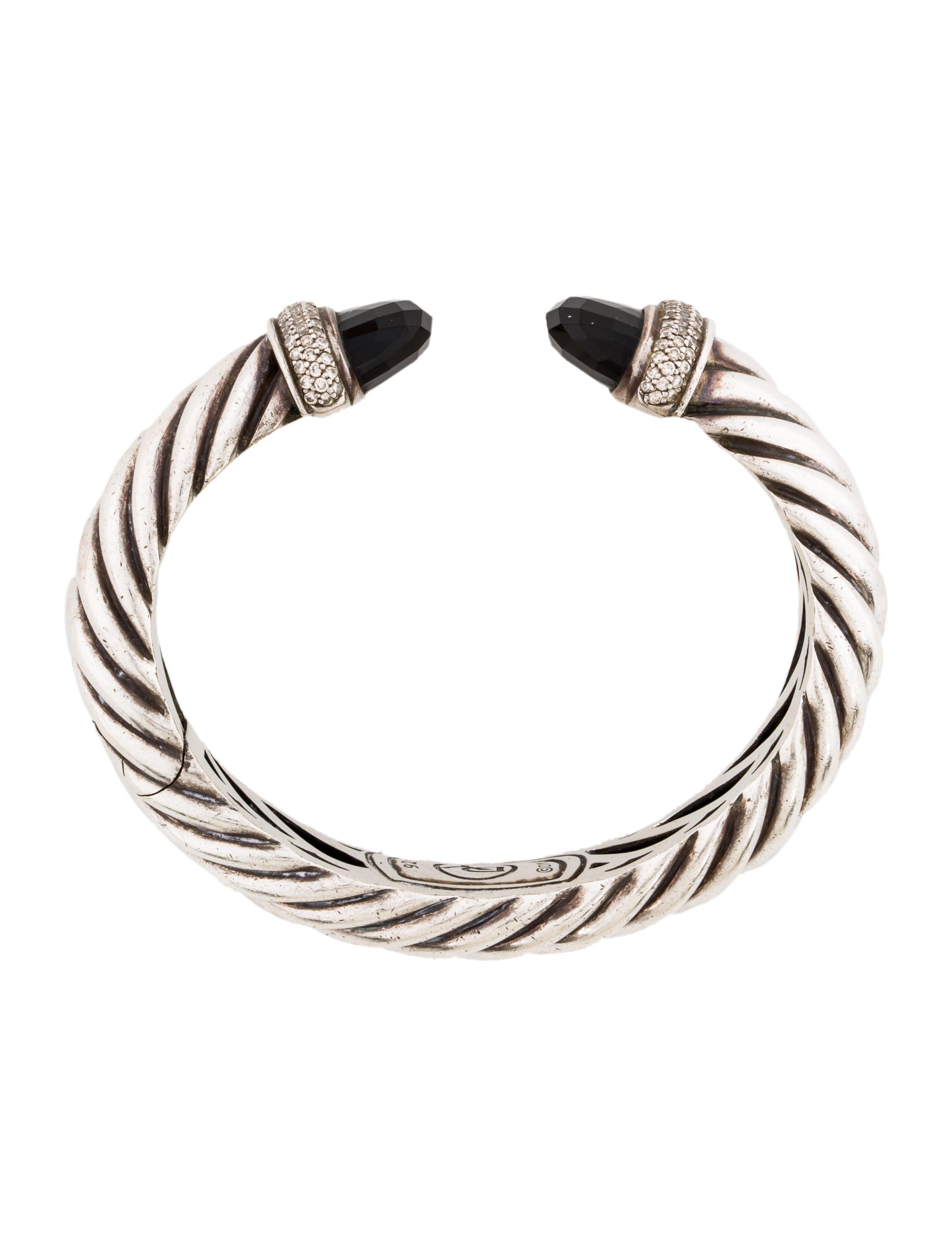 David Yurman Diamond Amp Onyx Waverly Cuff Bracelet