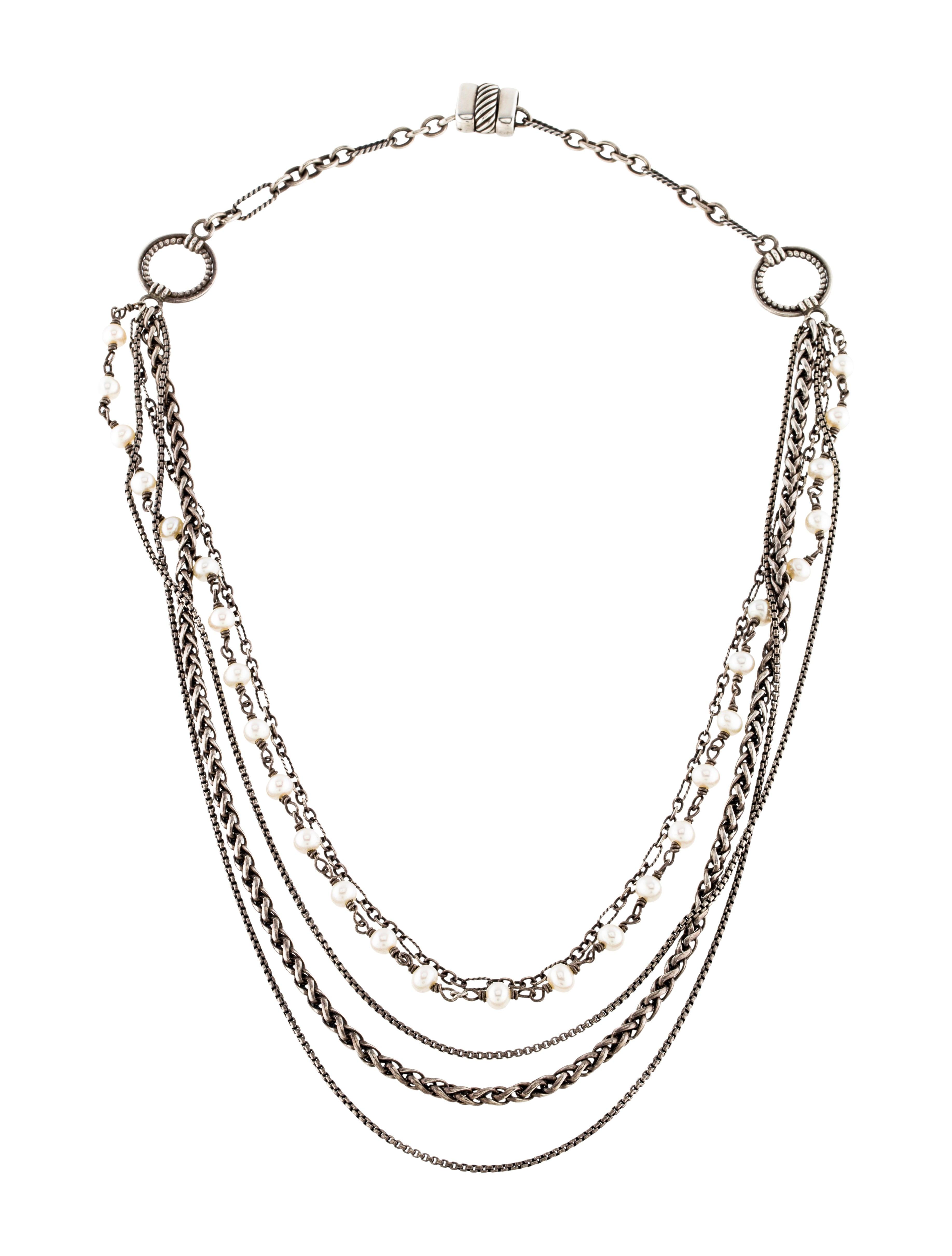 David Yurman Pearl Multi Strand Necklace Necklaces