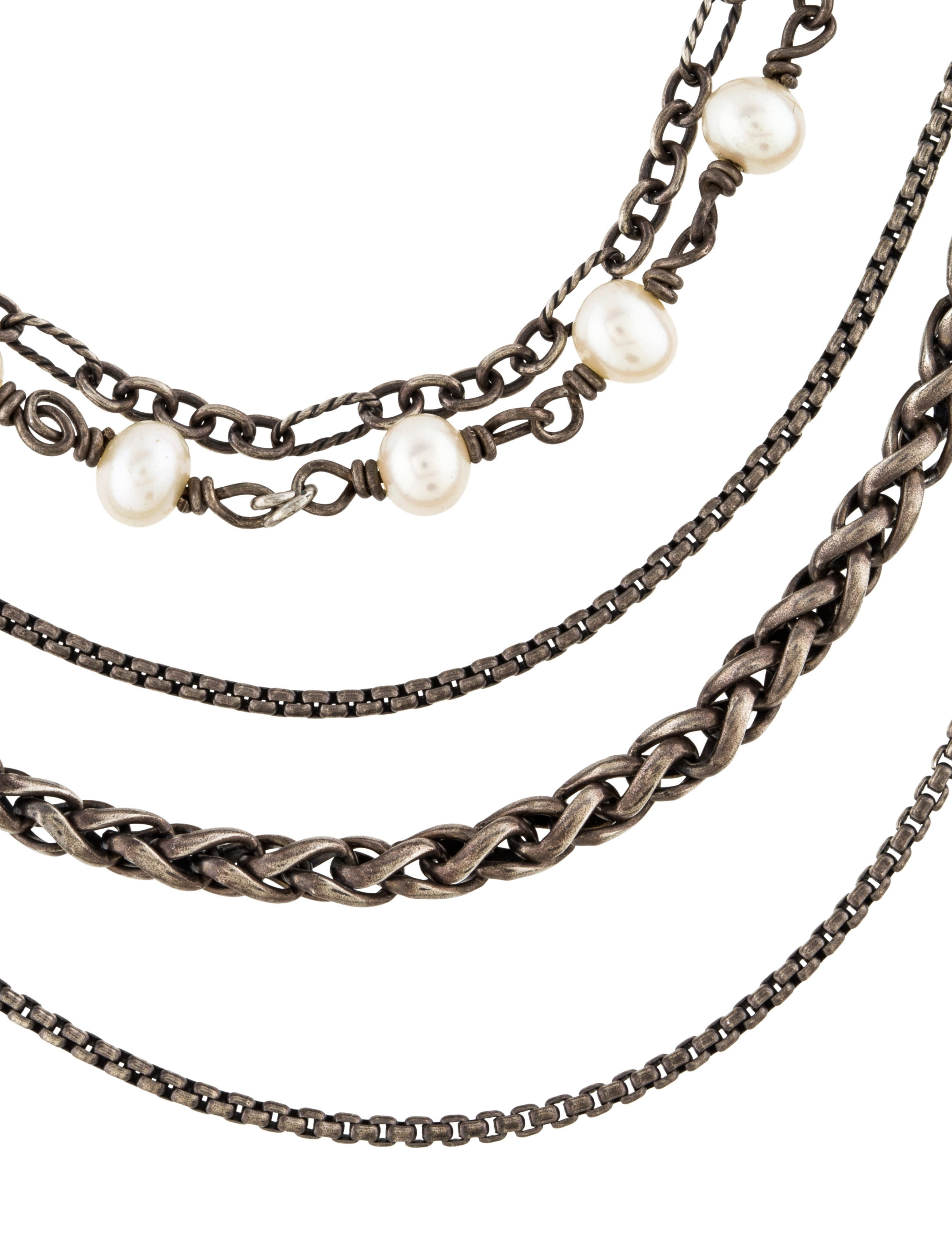 David Yurman Pearl Multi Strand Necklace Necklaces  : DVY393883enlarged from www.therealreal.com size 2664 x 3515 jpeg 469kB