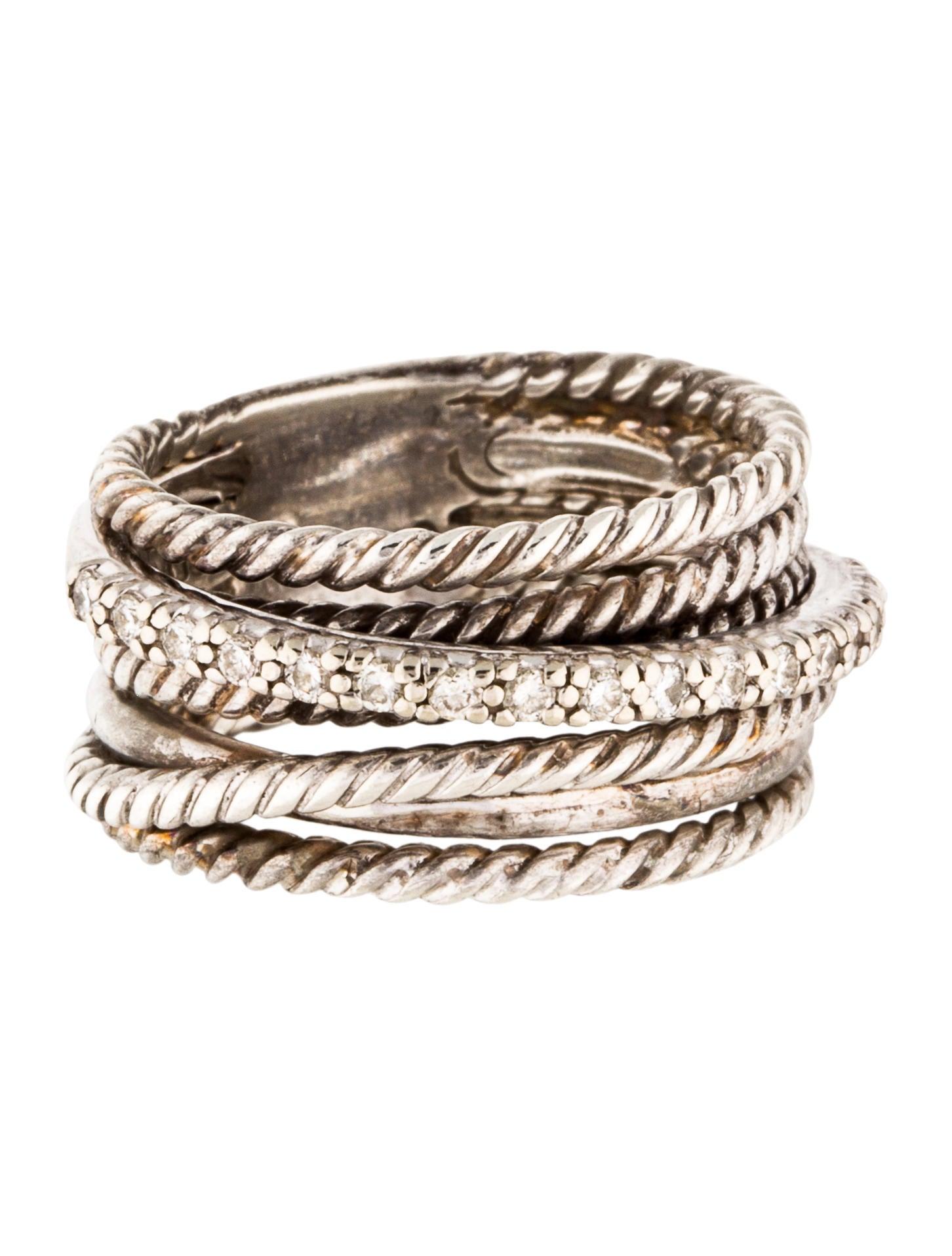 David yurman diamond crossover ring rings dvy39401 for David yurman inspired jewelry rings