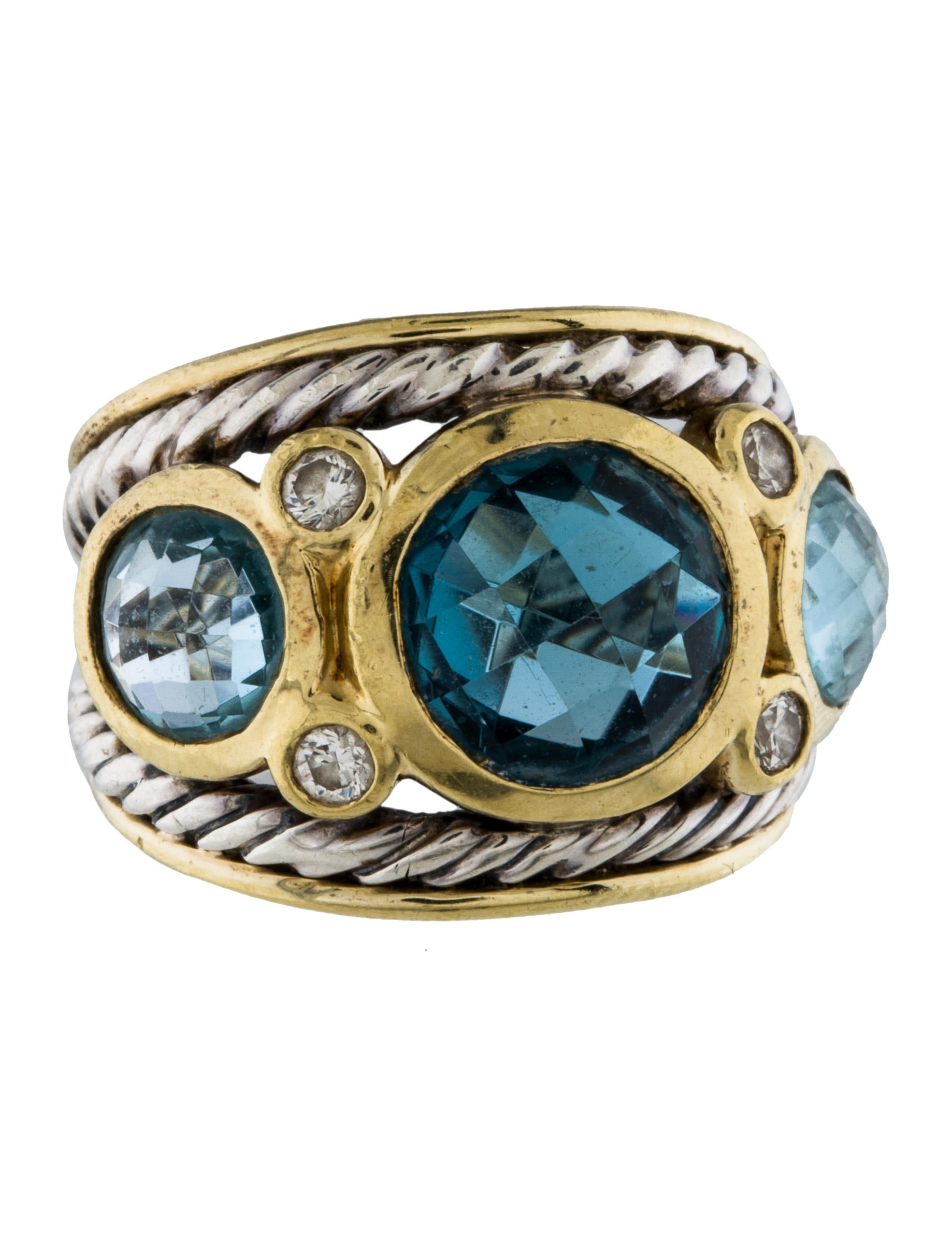 David yurman two tone topaz diamond renaissance ring for David yurman inspired jewelry rings