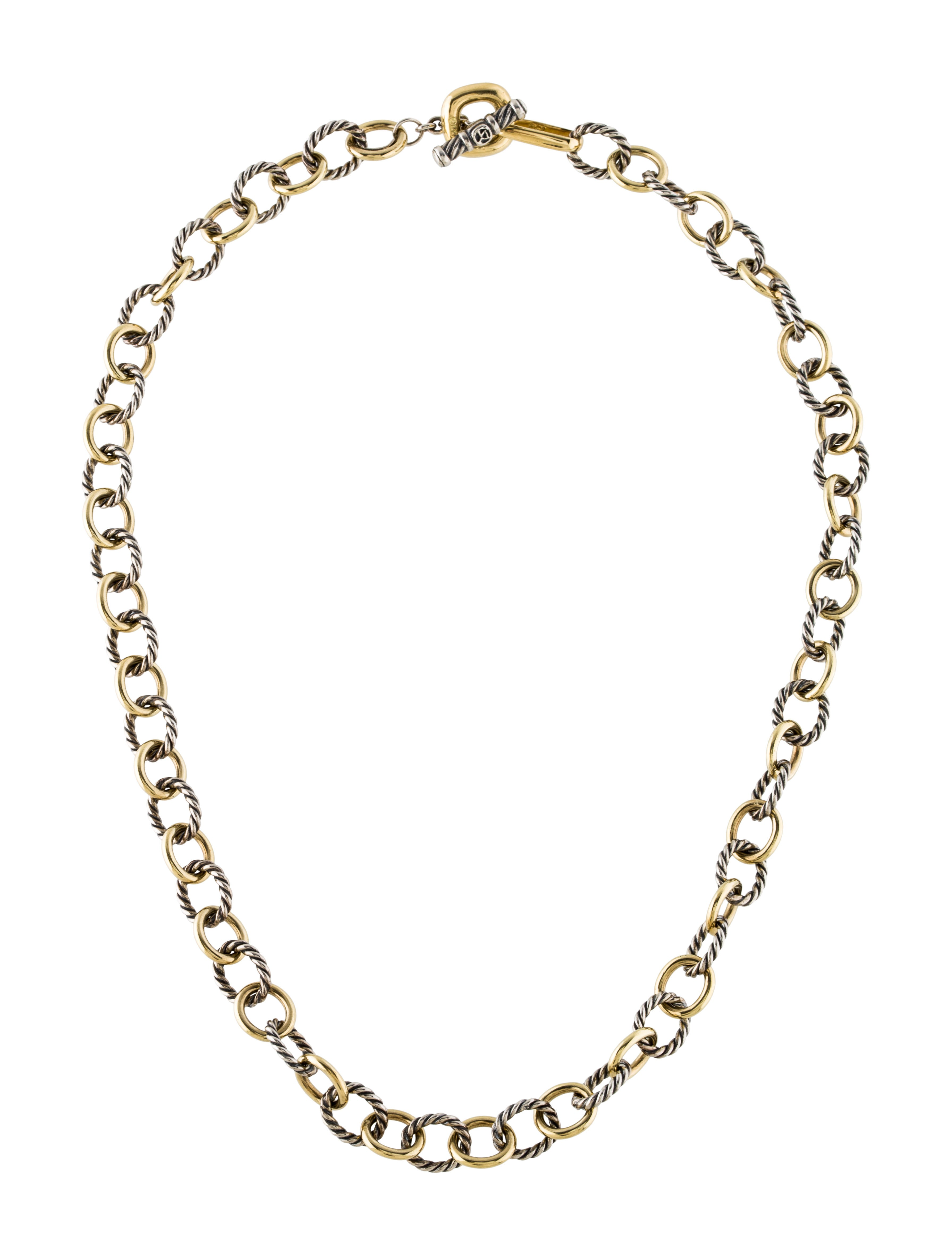 david yurman two tone oval link chain necklace necklaces. Black Bedroom Furniture Sets. Home Design Ideas