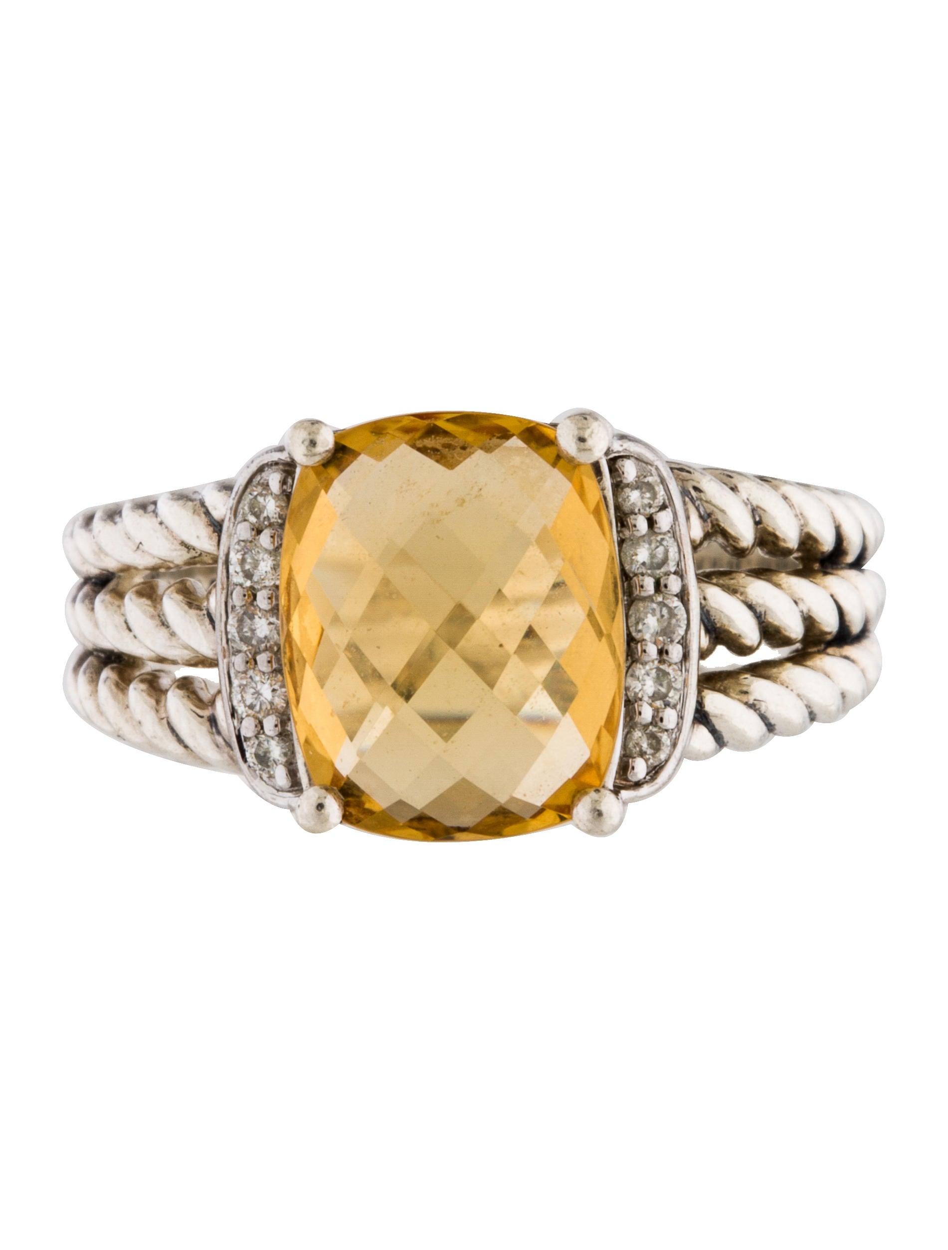 David yurman diamond citrine petite wheaton ring rings for David yurman inspired jewelry rings