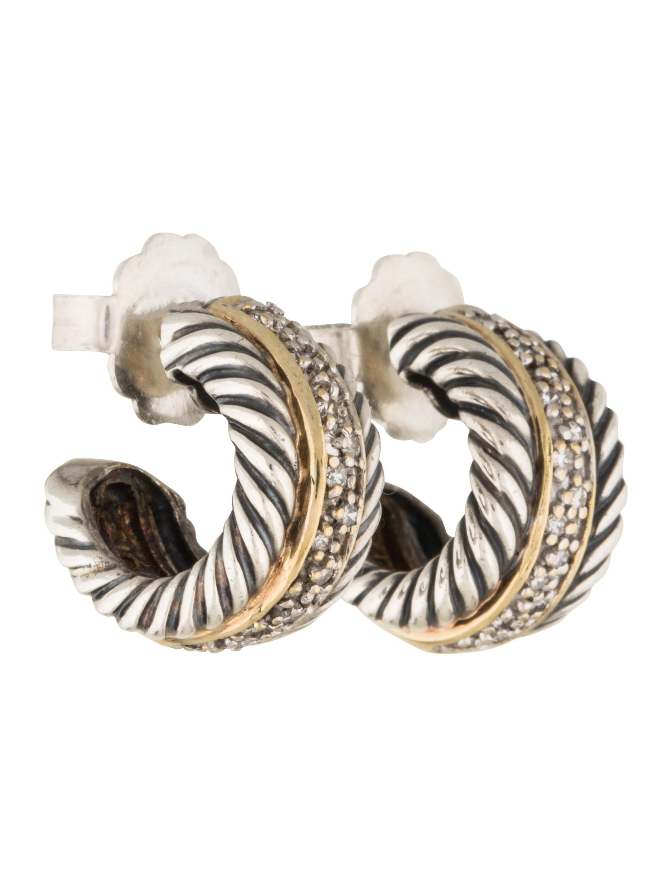 david yurman two tone cable classics hoop earrings