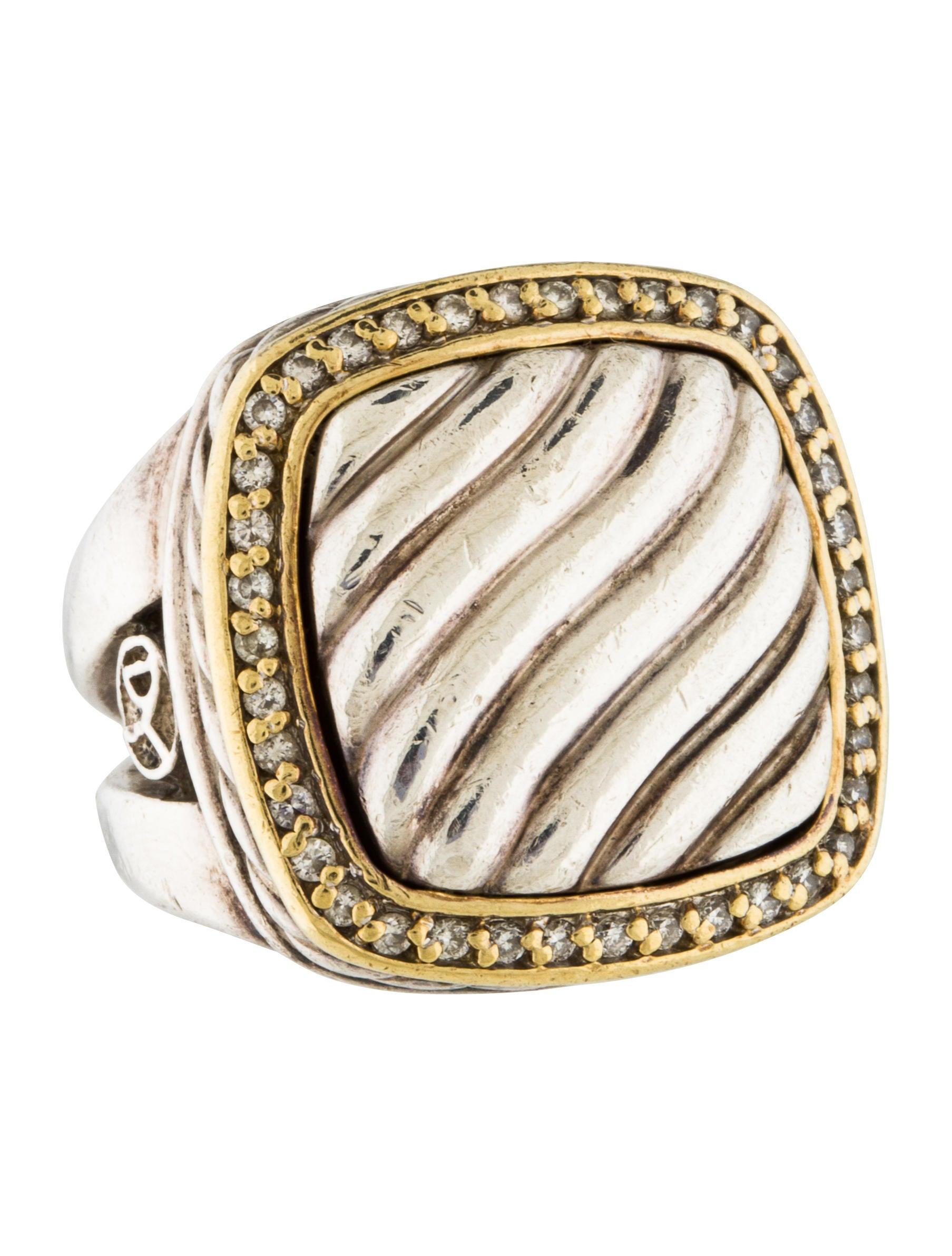 David yurman two tone diamond cable ring rings for David yurman inspired jewelry rings