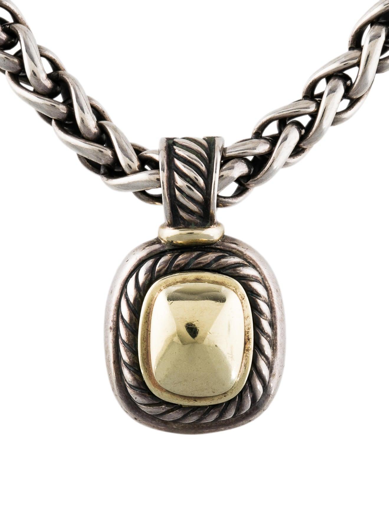David Yurman Two Tone Albion Pendant Necklace Necklaces