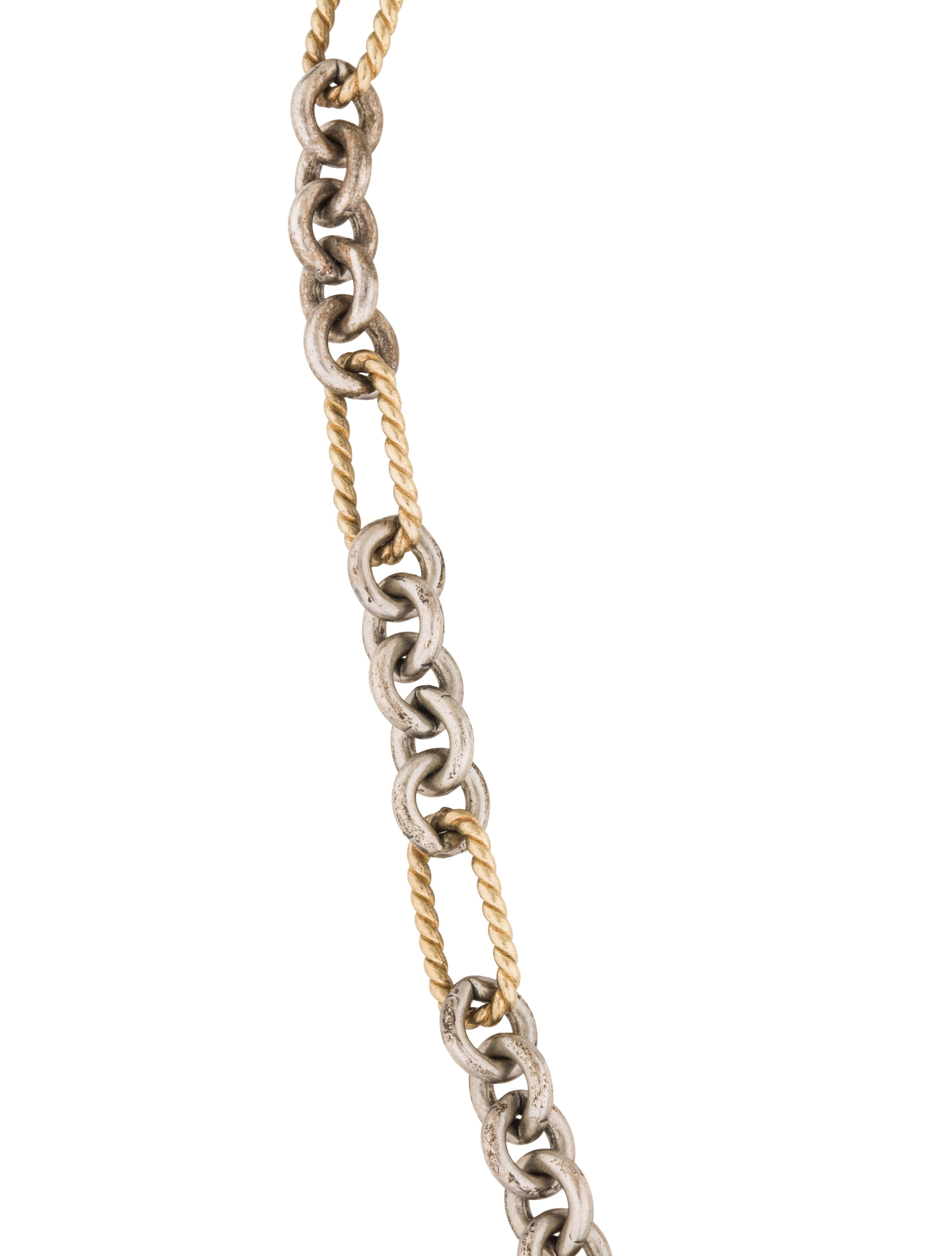David Yurman Two Tone Figaro Chain Necklace Necklaces