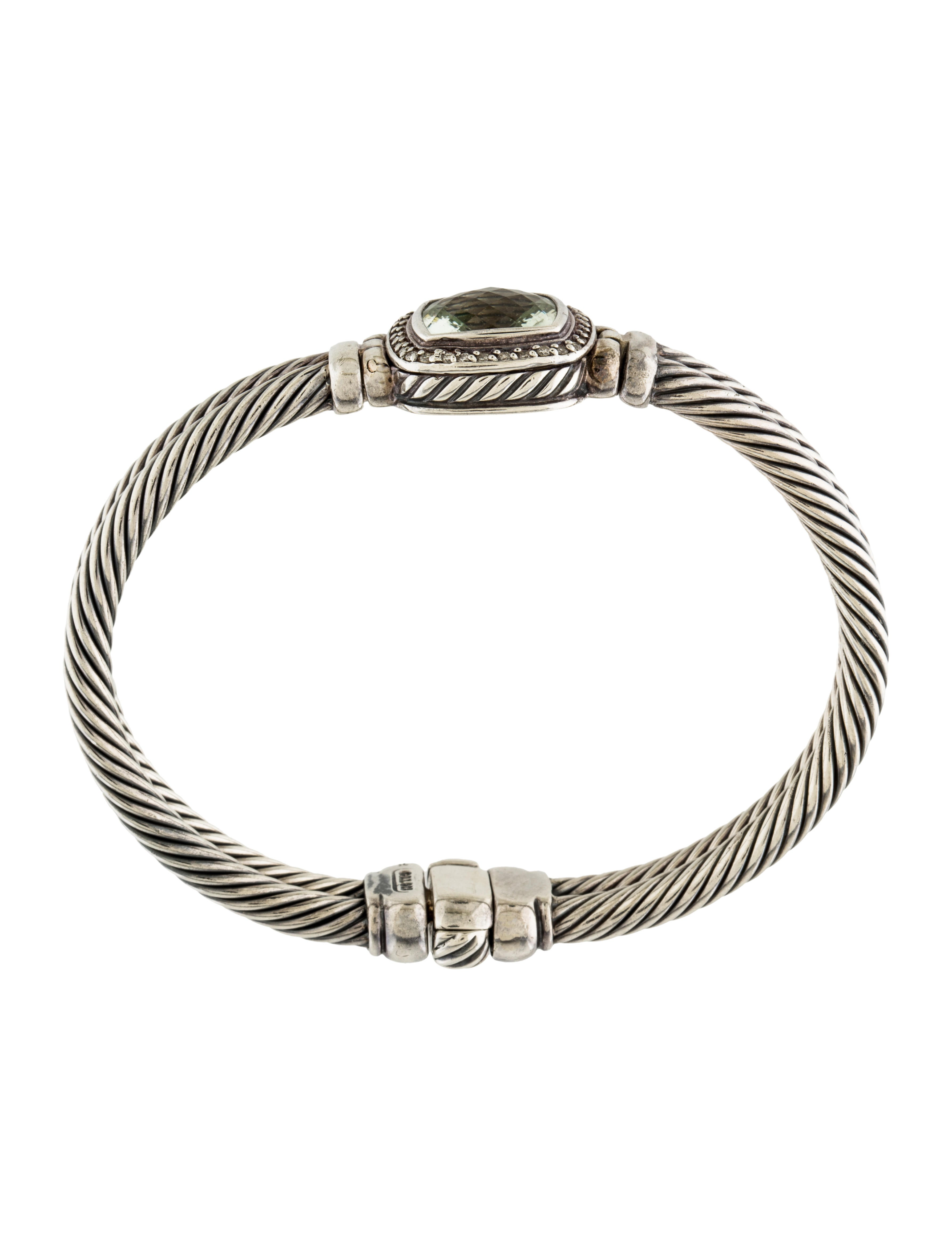 David yurman prasiolite diamond albion cable bracelet for David yurman inspired bracelet cable