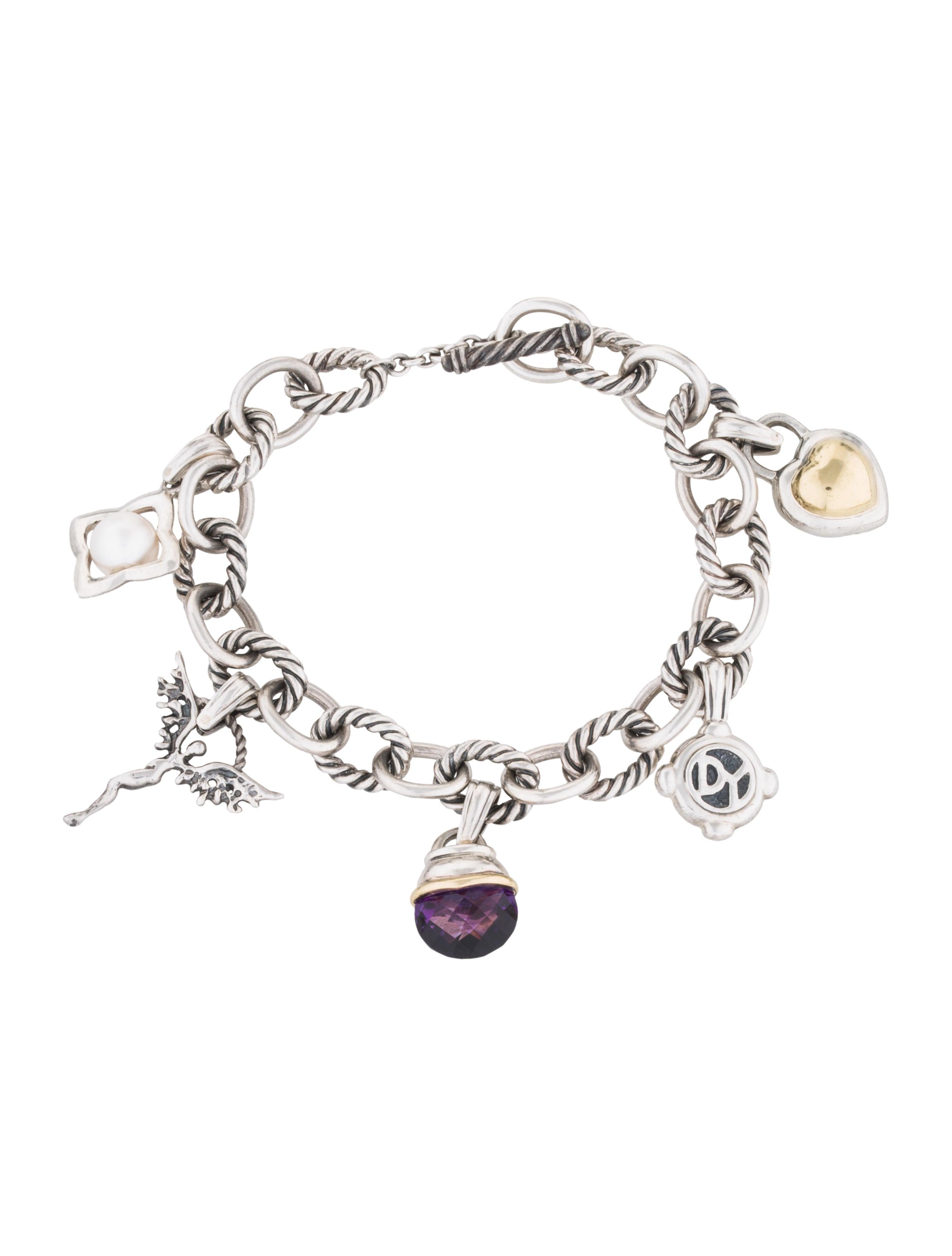 David Yurman Pearl & Amethyst Charm Bracelet