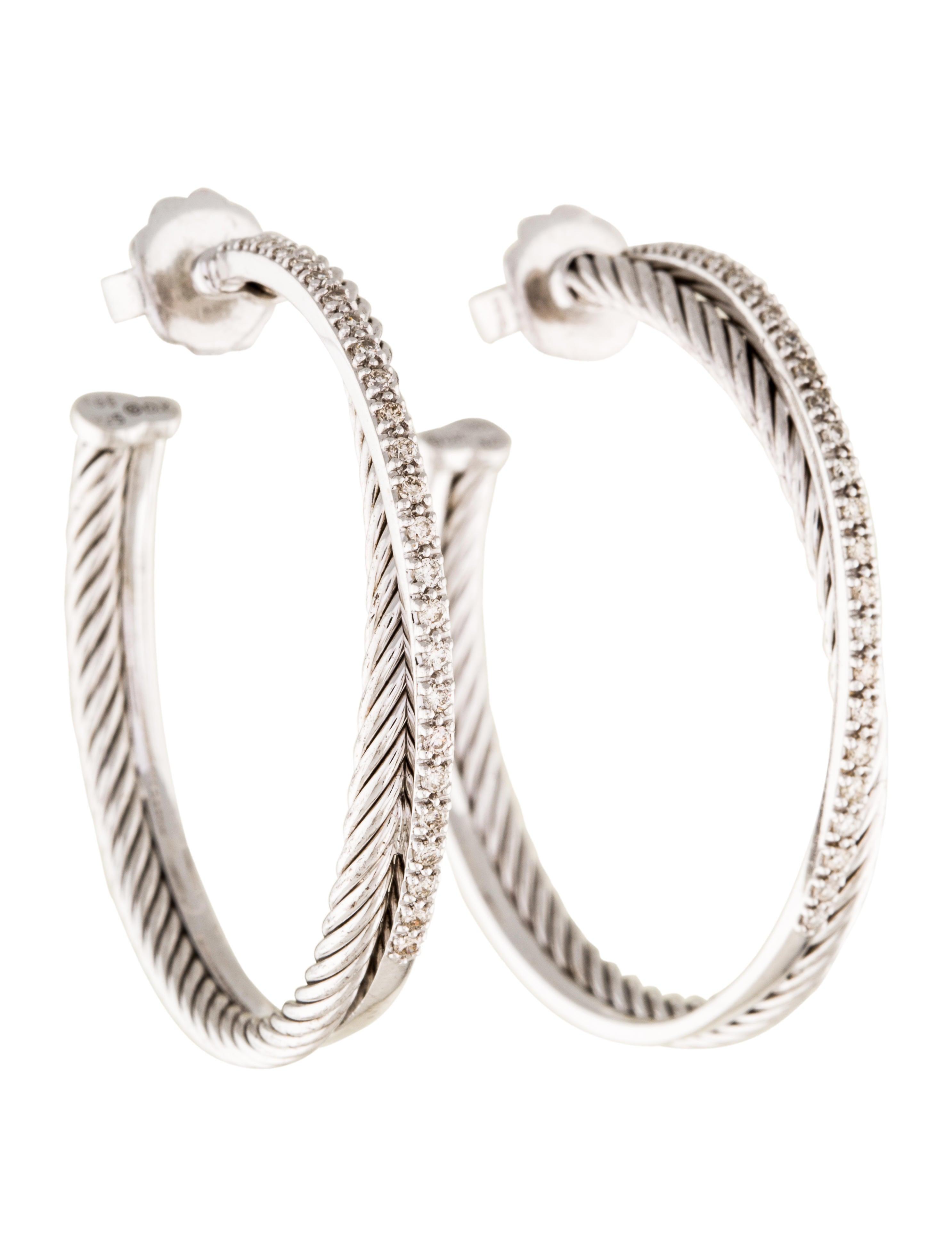 Diamond Extra Large Crossover Hoop Earrings