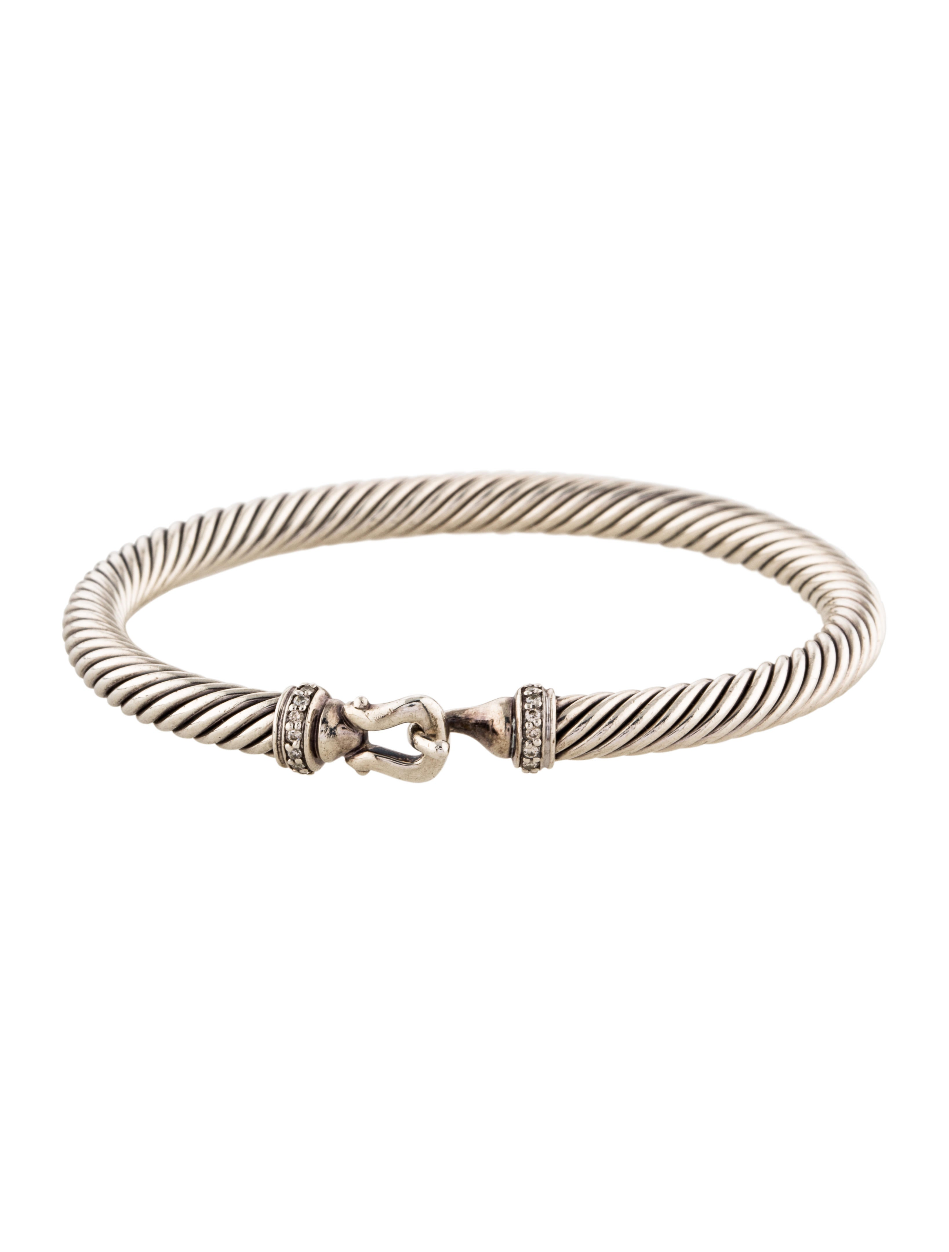 David yurman diamond cable buckle bangle bracelet for David yurman inspired bracelet cable