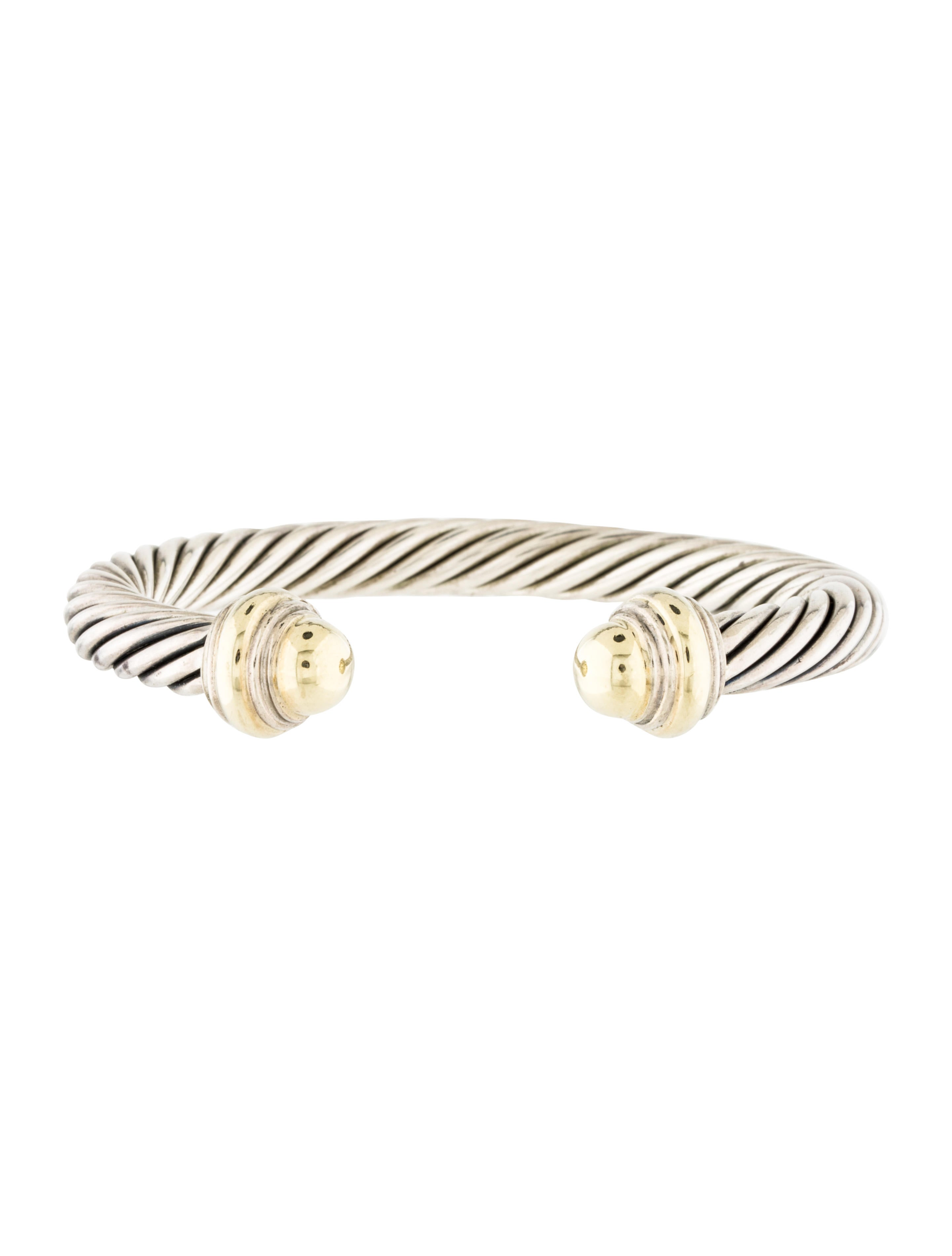 David yurman two tone cable classics cuff bracelet for David yurman inspired bracelet cable
