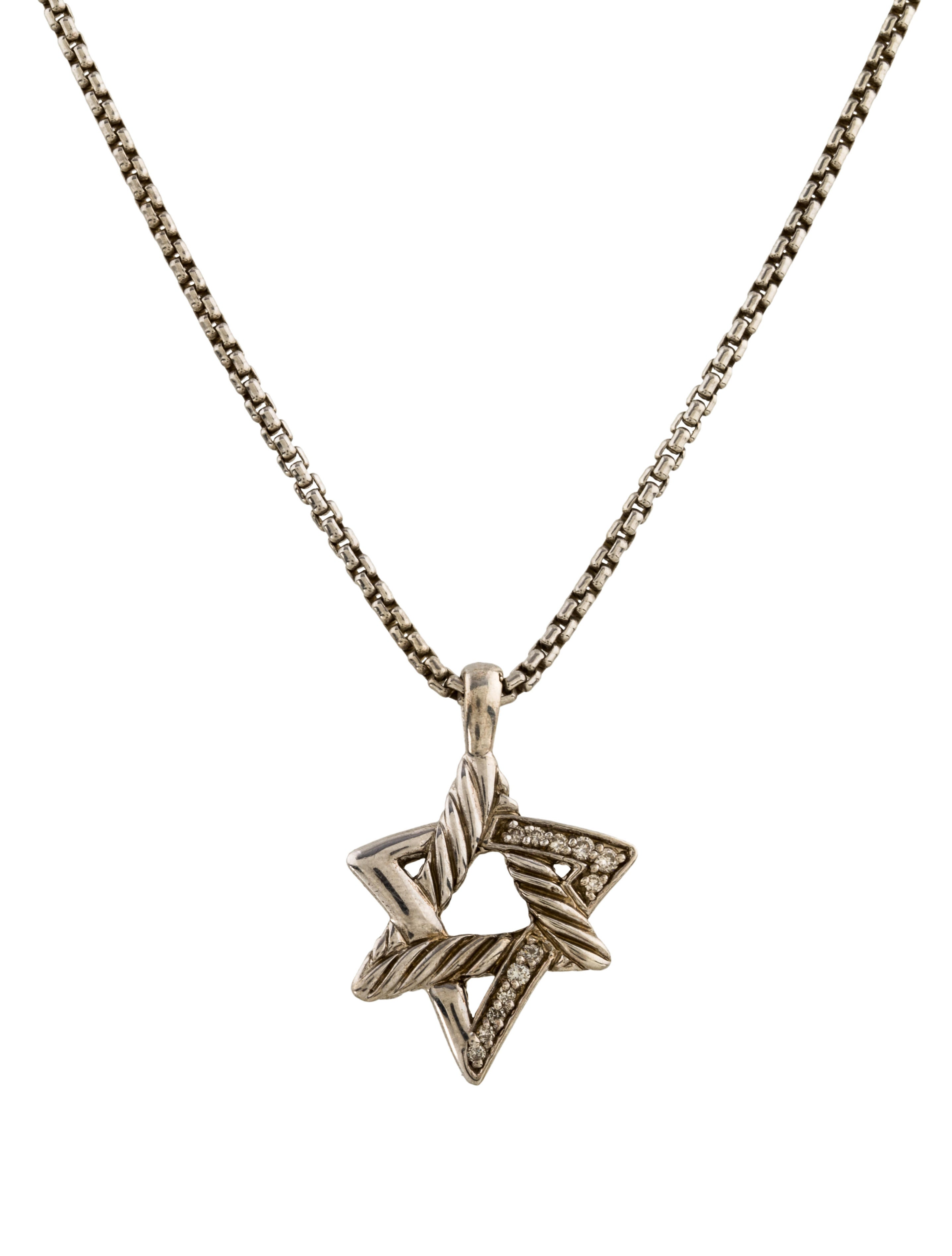 David yurman diamond star of david pendant necklace for Star of david necklace mens jewelry