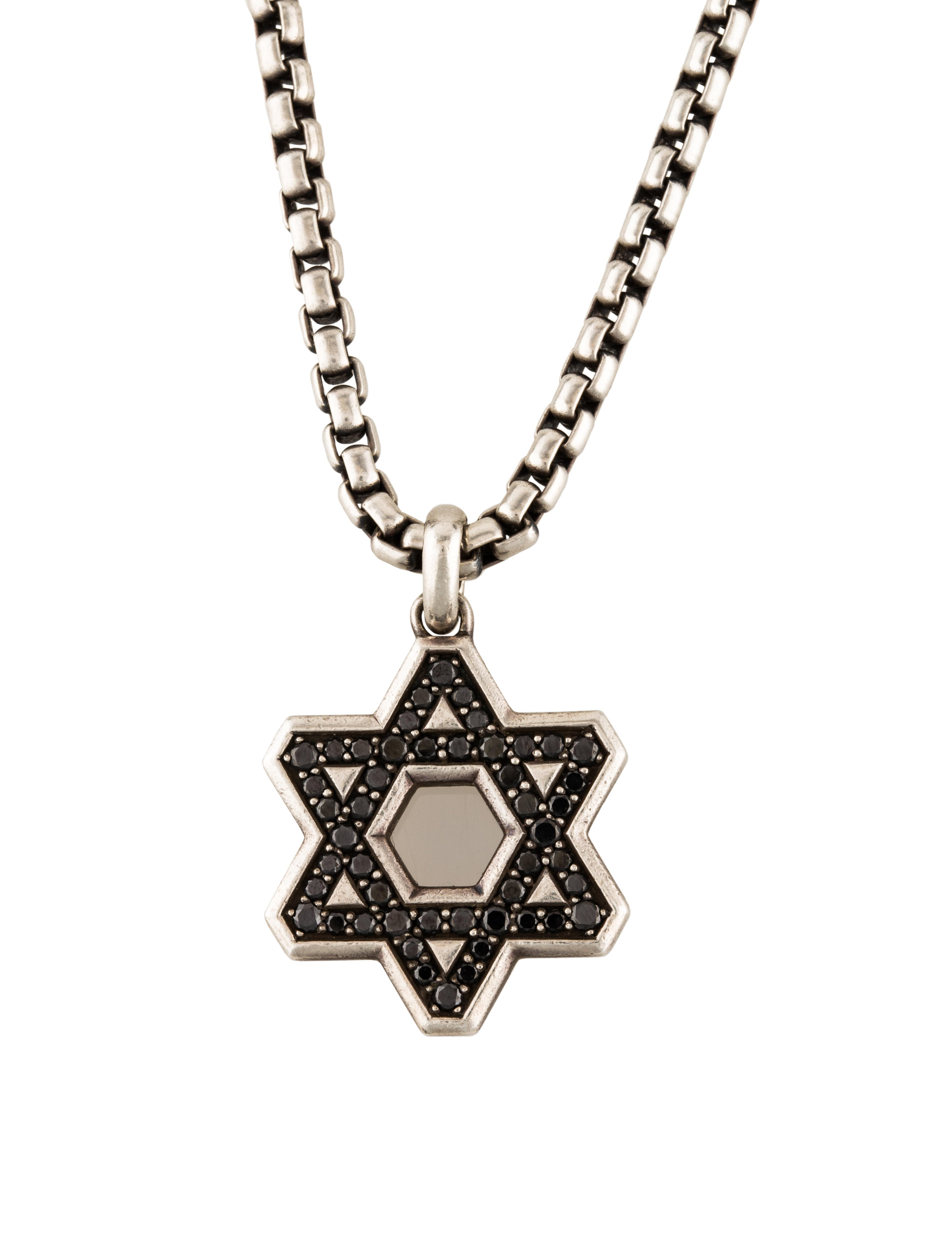 David yurman black diamond pav reversible star of david for Star of david necklace mens jewelry