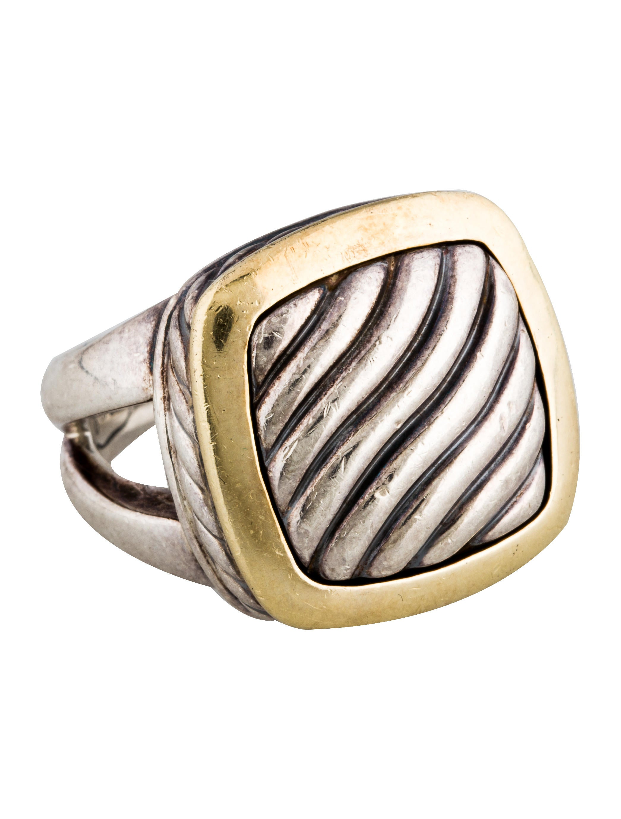 David yurman two tone square sculpted cable cocktail ring for David yurman inspired jewelry rings