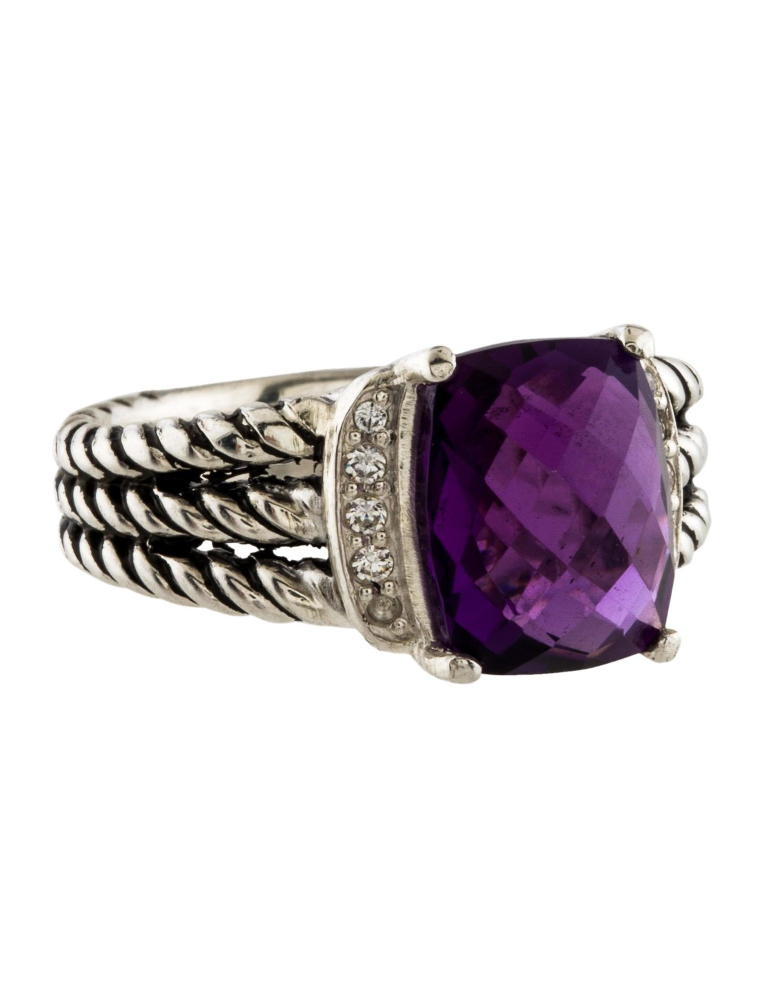 David yurman amethyst diamond wheaton ring rings for David yurman inspired jewelry rings