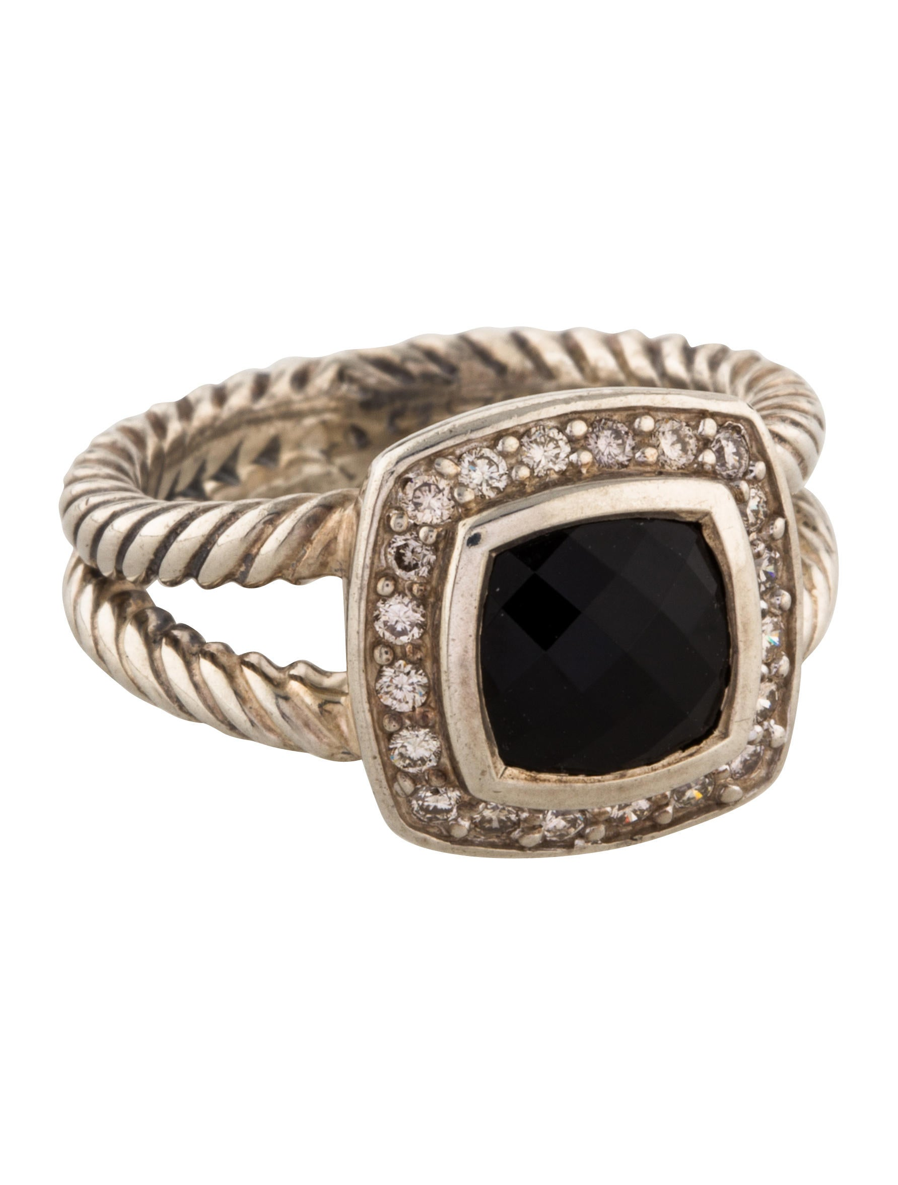David yurman diamond onyx petite albion ring rings for David yurman inspired jewelry rings
