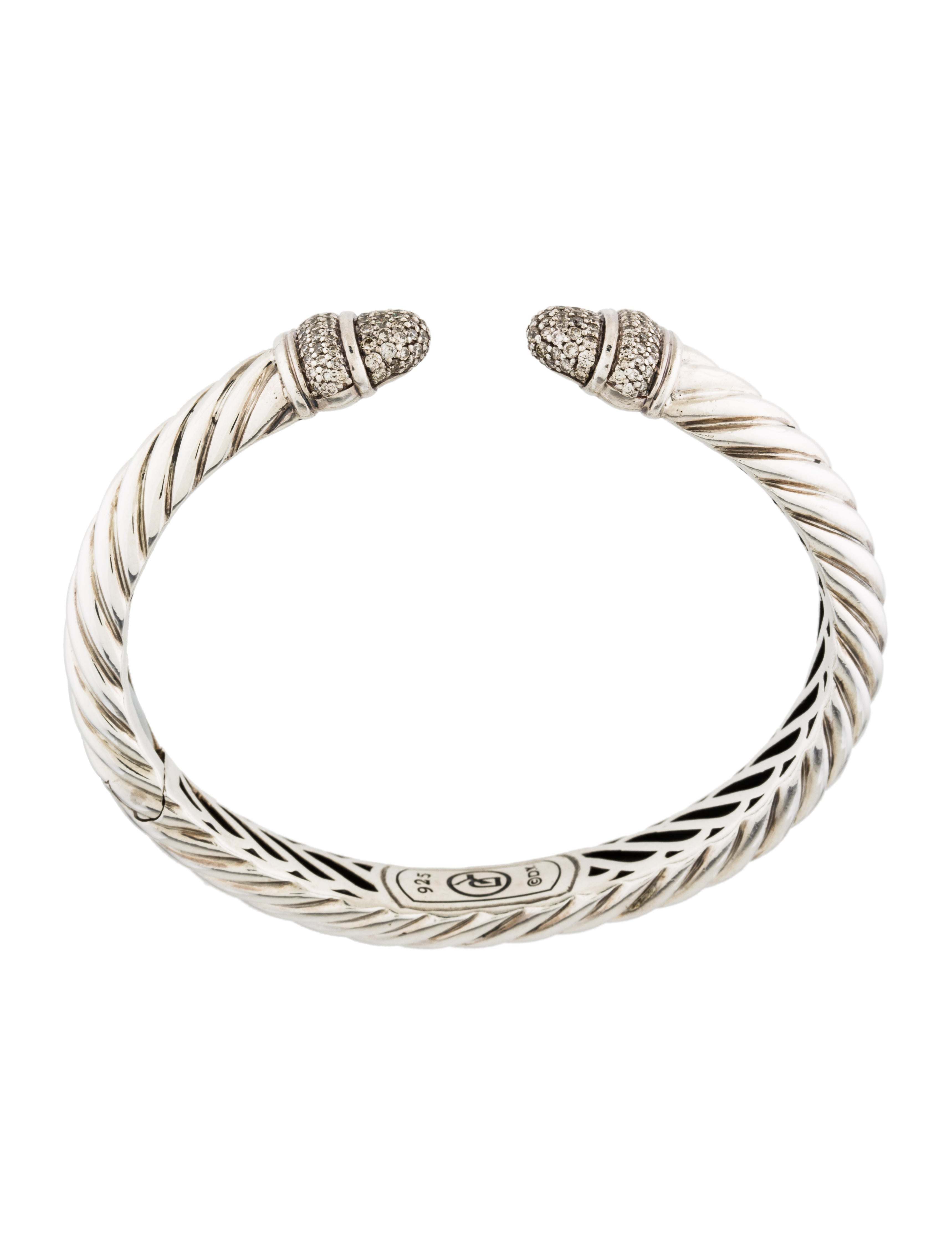 David yurman diamond sculpted cable bracelet bracelets for David yurman inspired bracelet cable