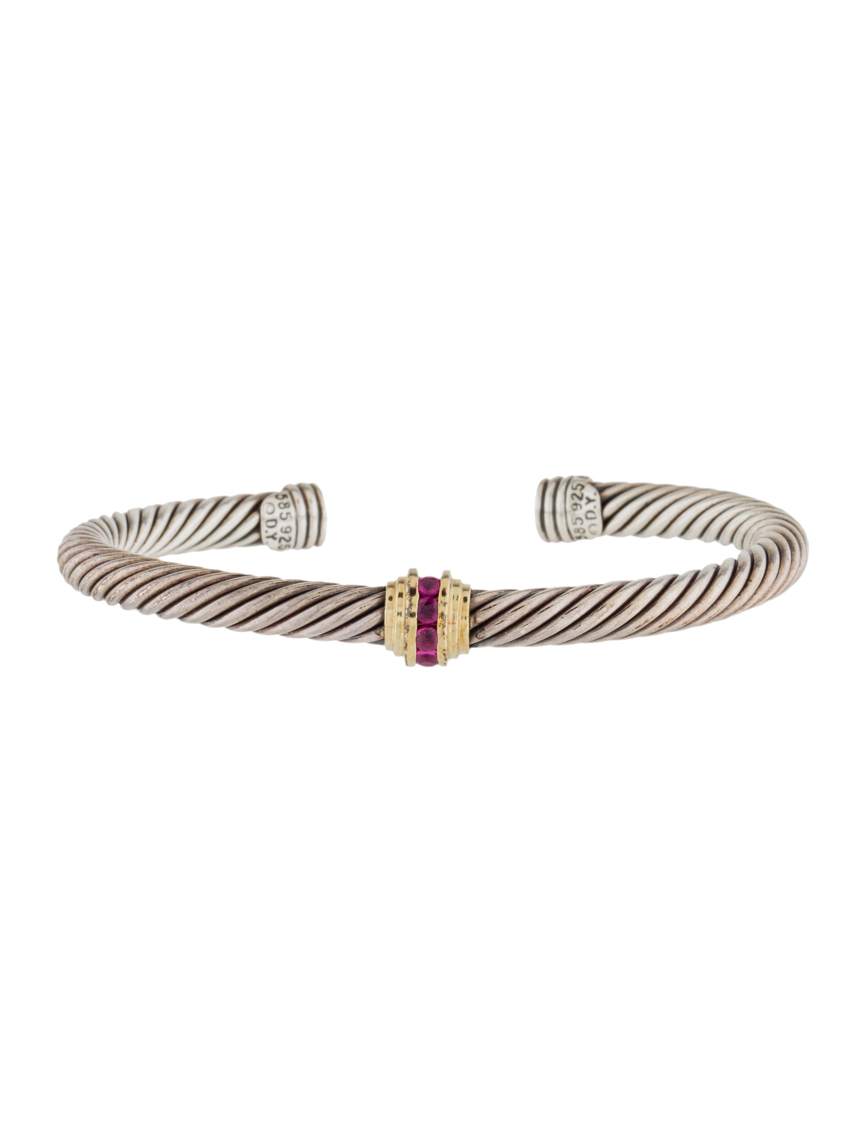 David yurman ruby cable classics cuff bracelet bracelets for David yurman inspired bracelet cable