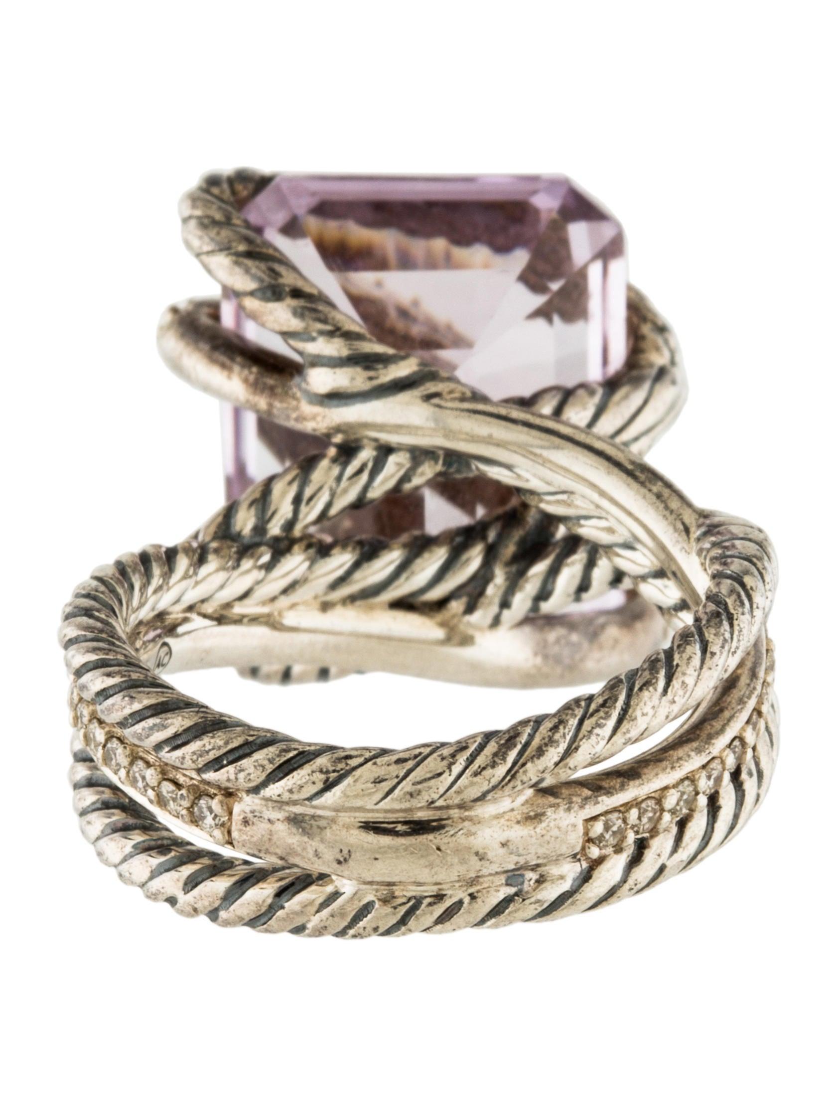 David Yurman Amethyst Amp Diamond Cable Wrap Cocktail Ring