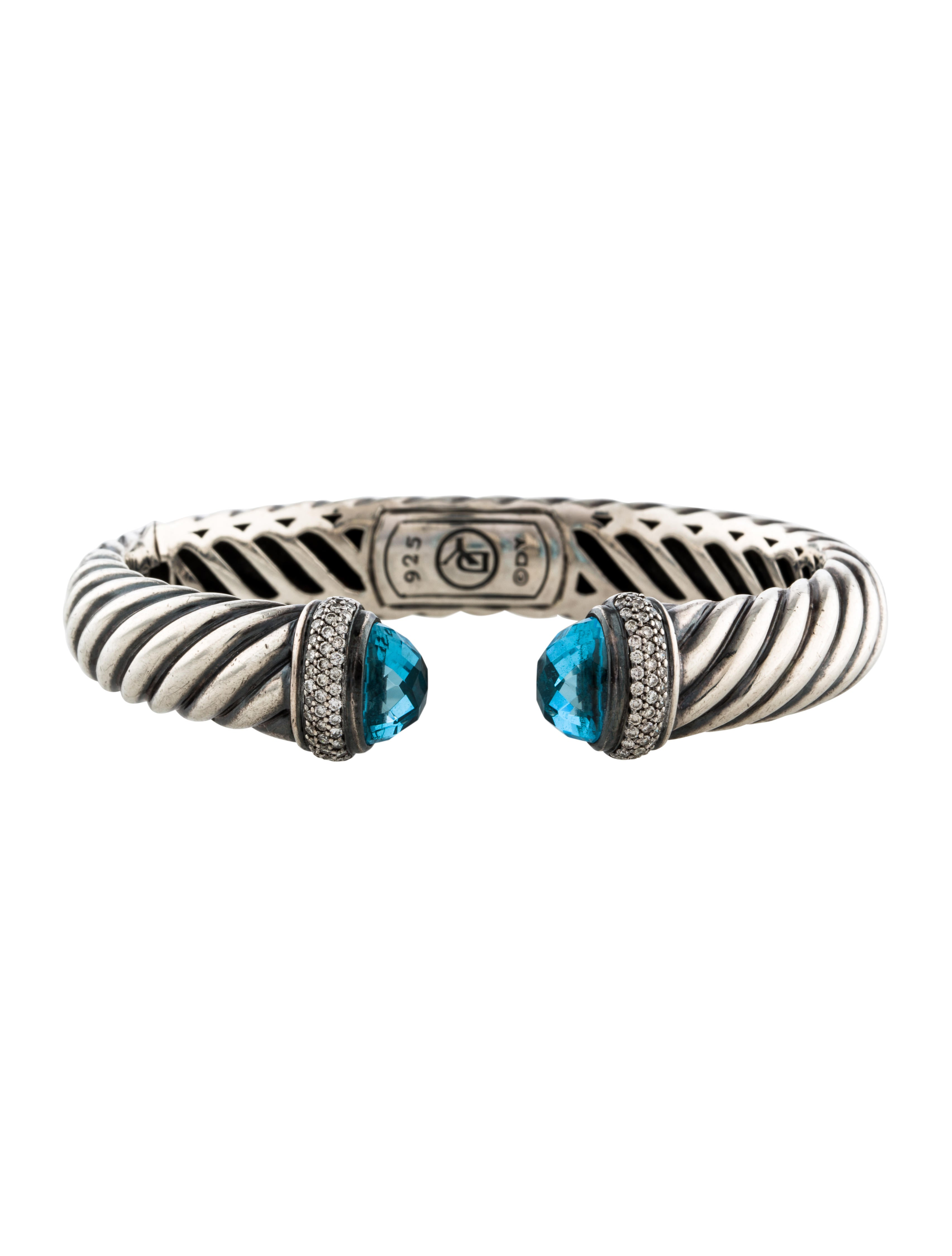 David yurman topaz diamond sculpted cable cuff bracelet for David yurman inspired bracelet cable
