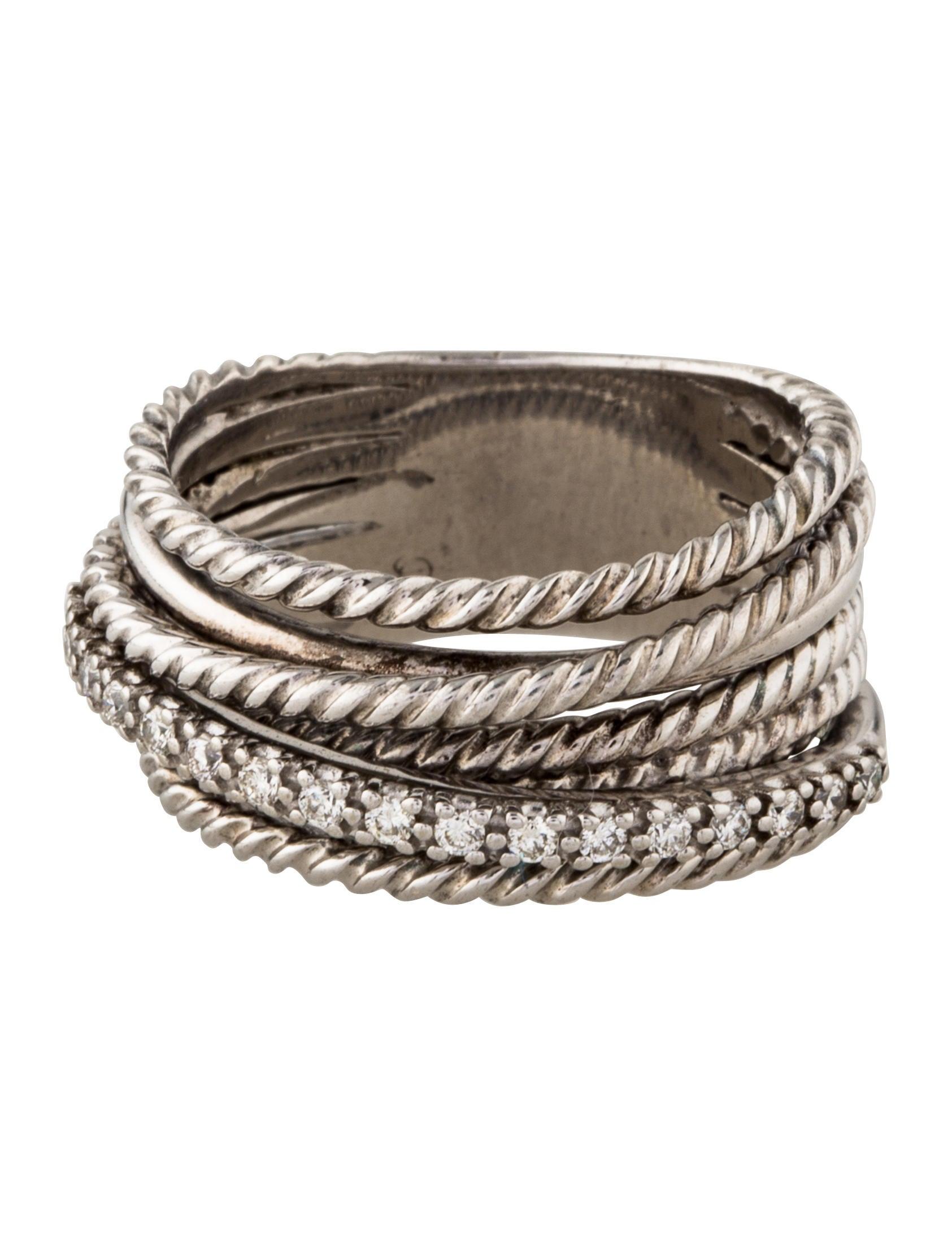 david yurman 14k diamond crossover wide ring w tags. Black Bedroom Furniture Sets. Home Design Ideas