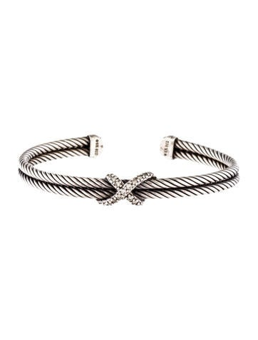 David Yurman Diamond X Cuff Bracelet on outdoor stone bar
