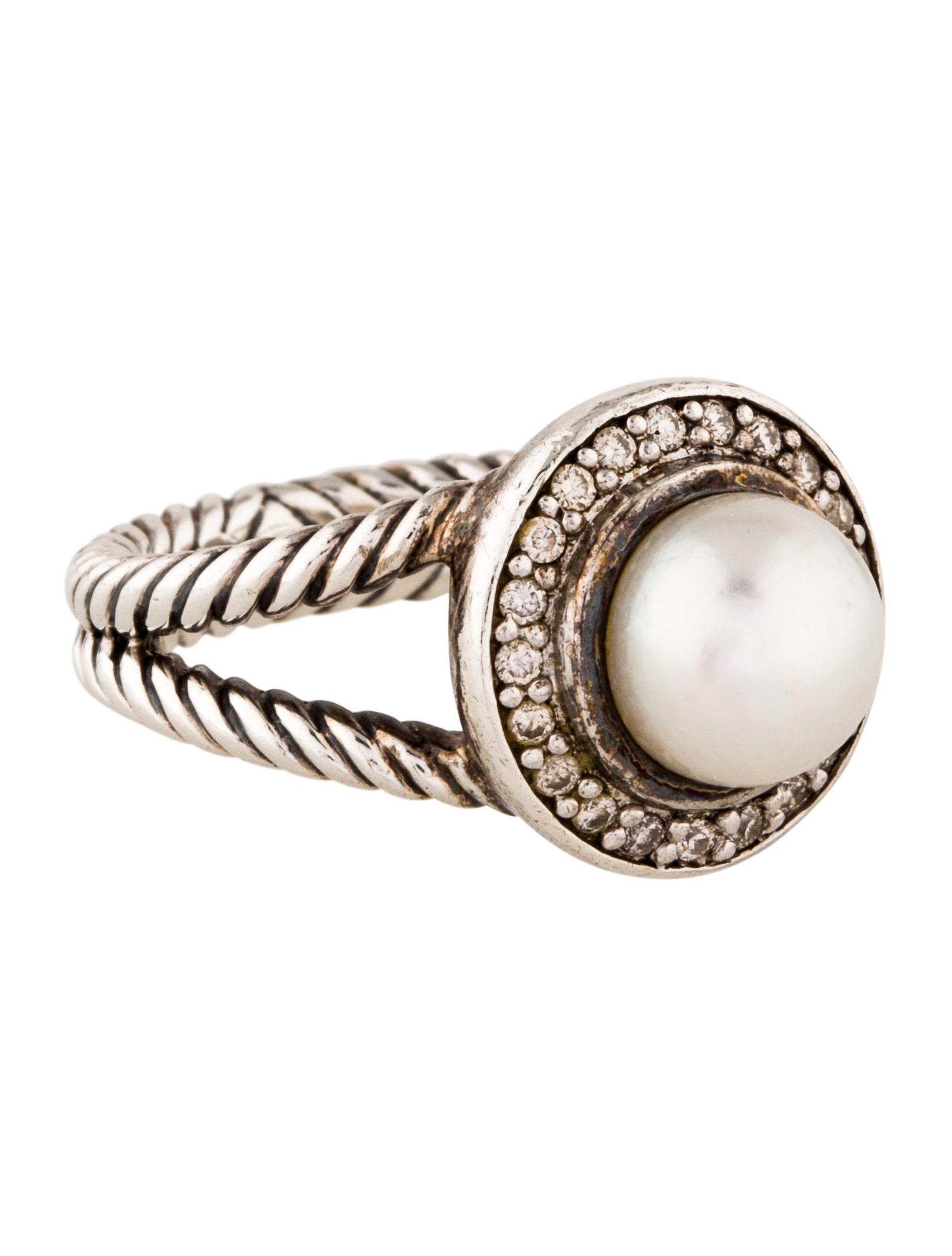 David yurman pearl diamond petite cerise cocktail ring for David yurman inspired jewelry rings