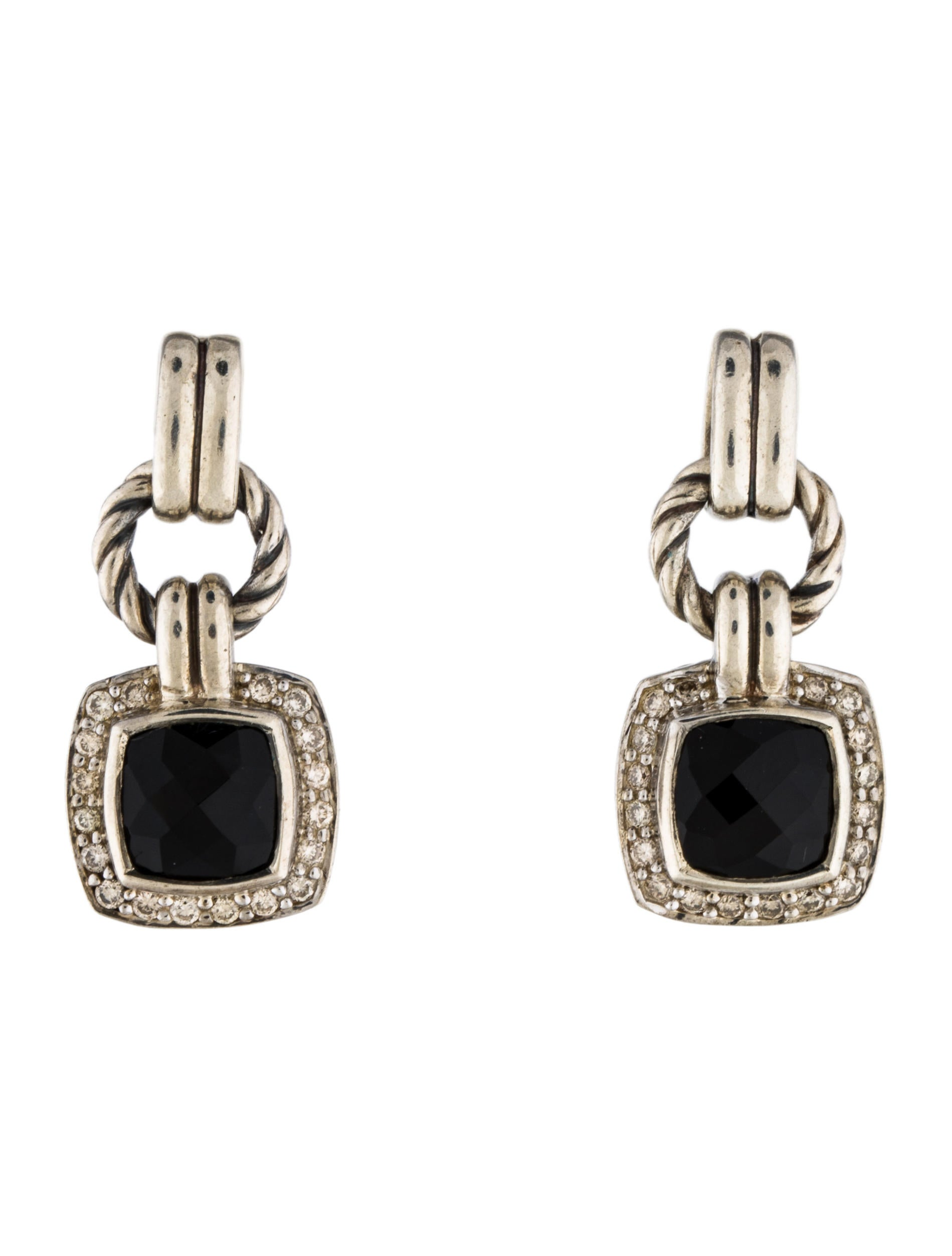 David Yurman Onyx Amp Diamond Renaissance Drop Earrings