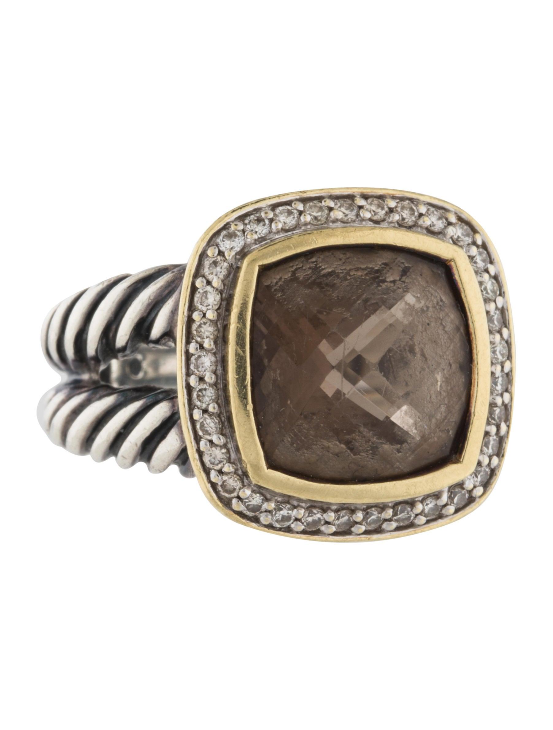 David yurman smoky quartz diamond albion ring rings for David yurman inspired jewelry rings