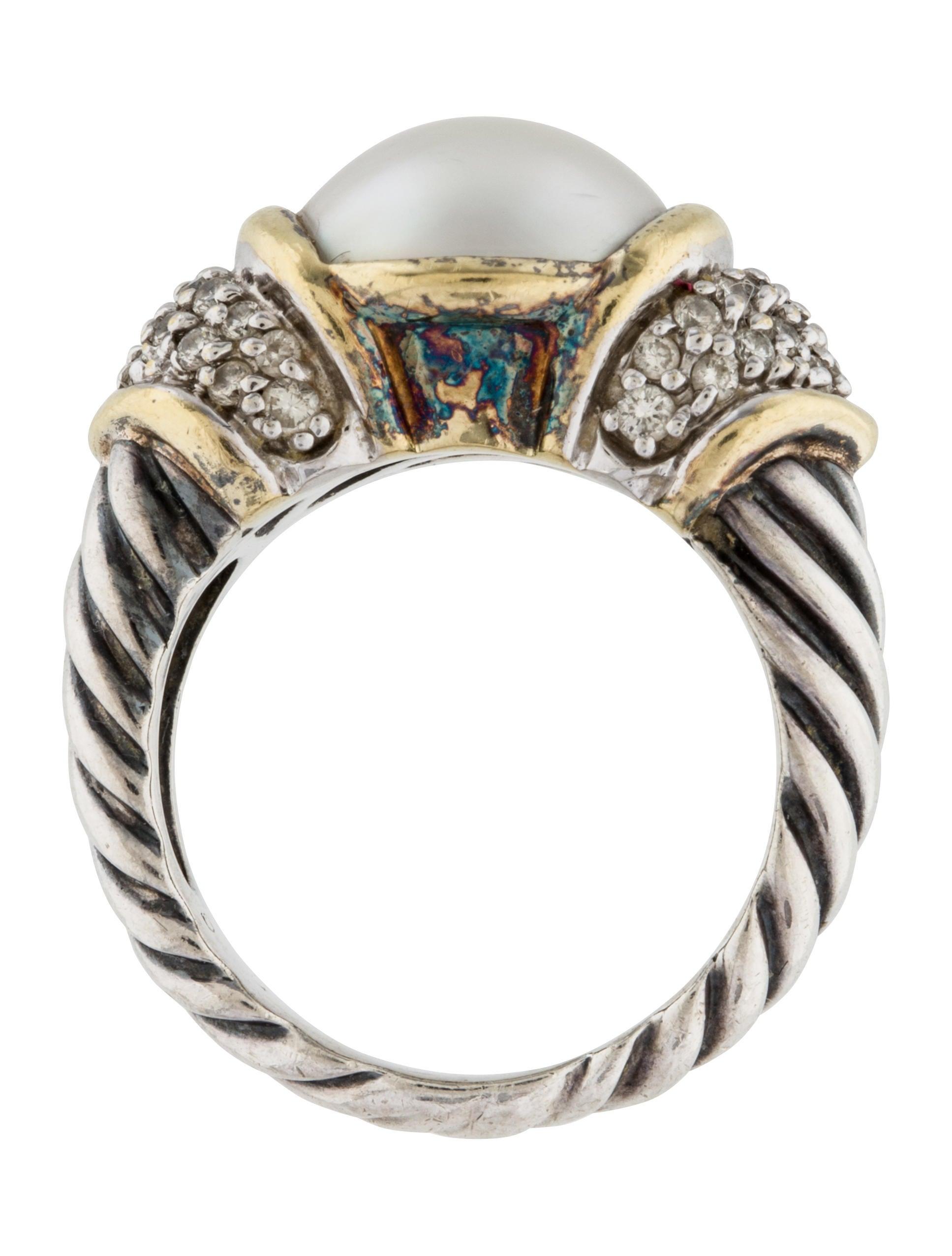 david yurman diamond mab pearl cocktail ring rings. Black Bedroom Furniture Sets. Home Design Ideas