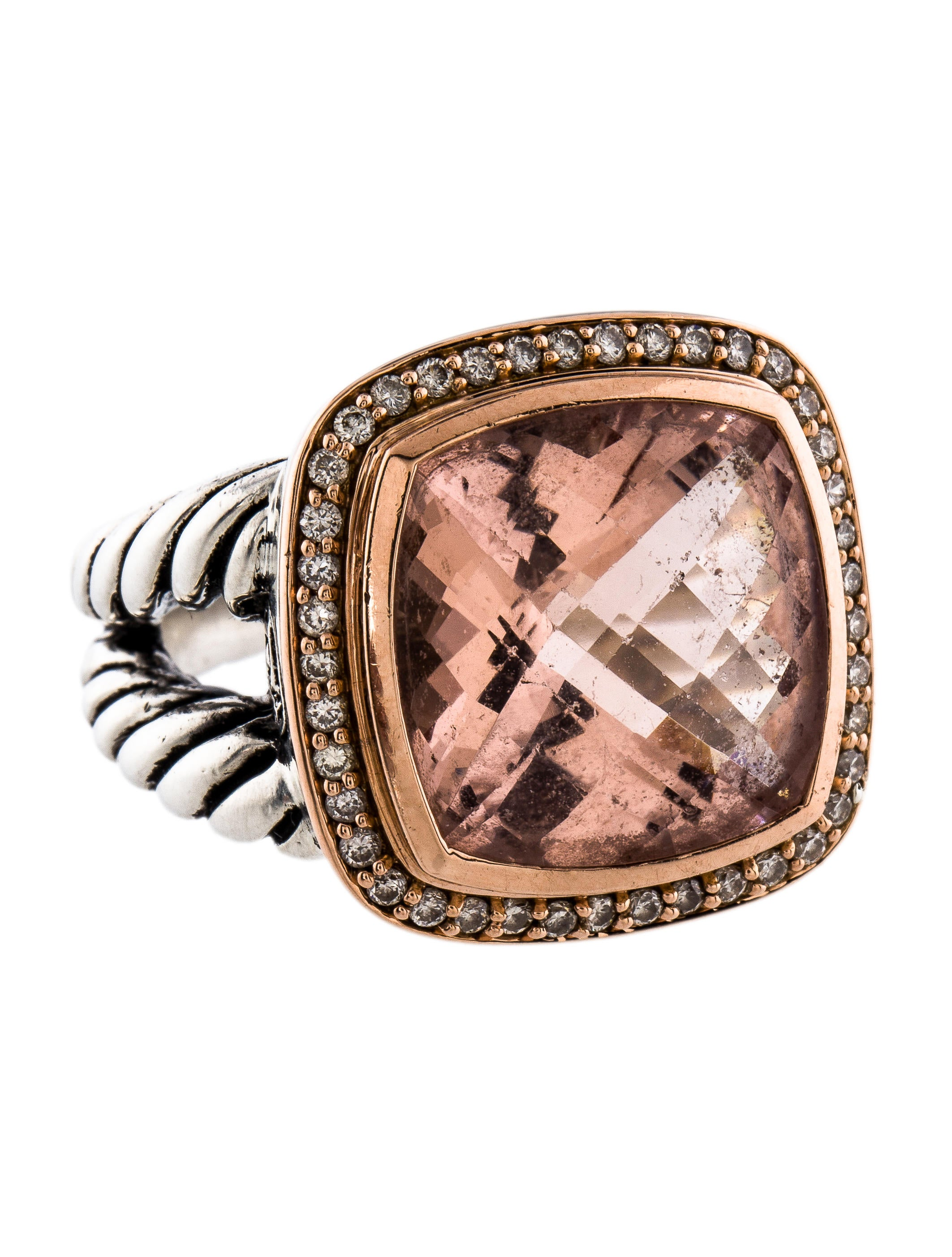 David yurman morganite diamond albion ring rings for David yurman inspired jewelry rings