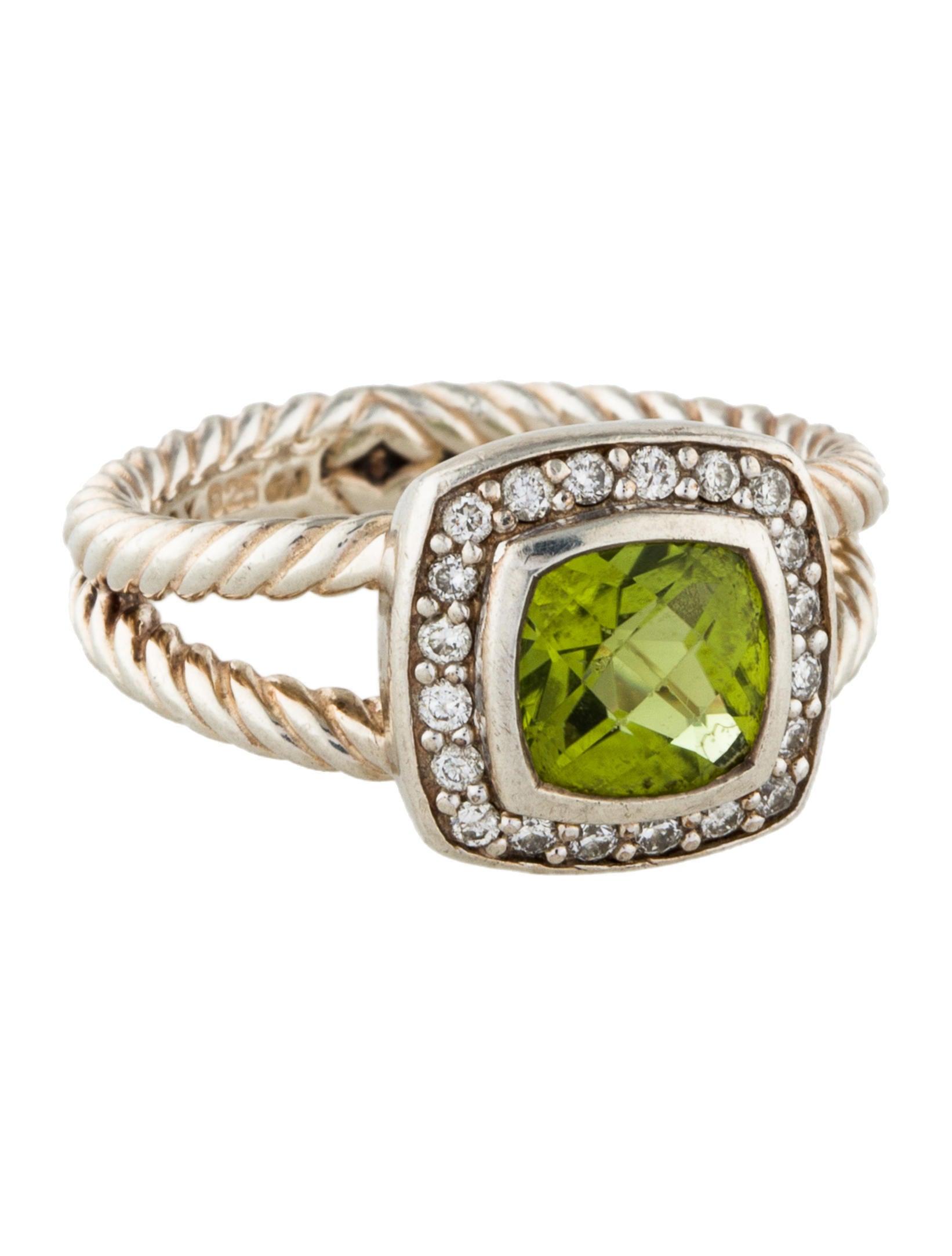 David yurman peridot diamond petite albion cocktail ring for David yurman inspired jewelry rings