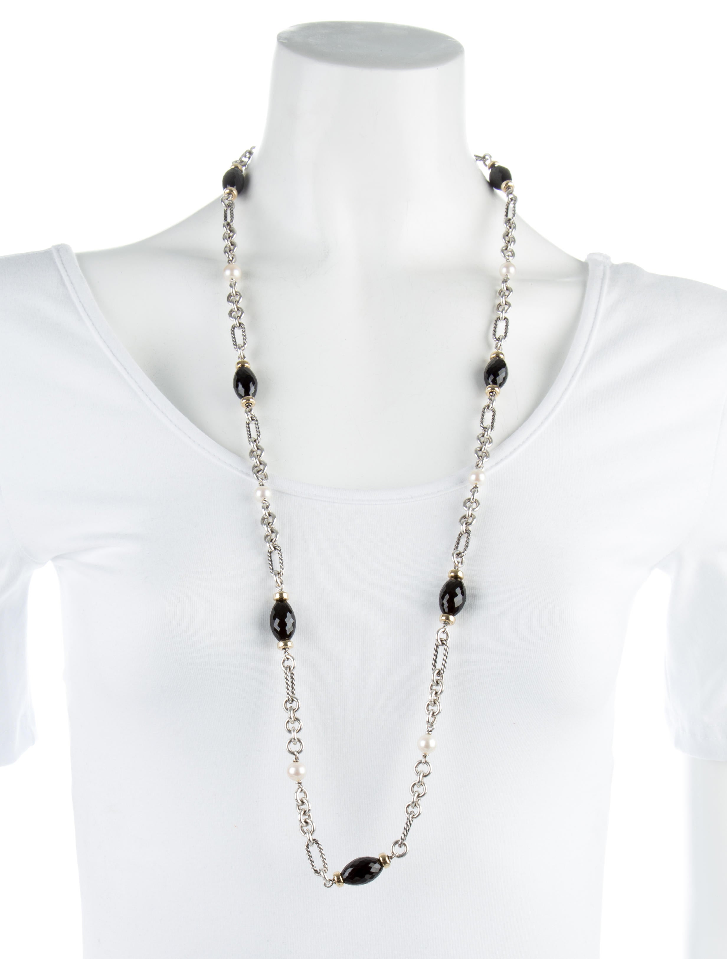 David Yurman Pearl Amp Onyx Figaro Necklace Necklaces