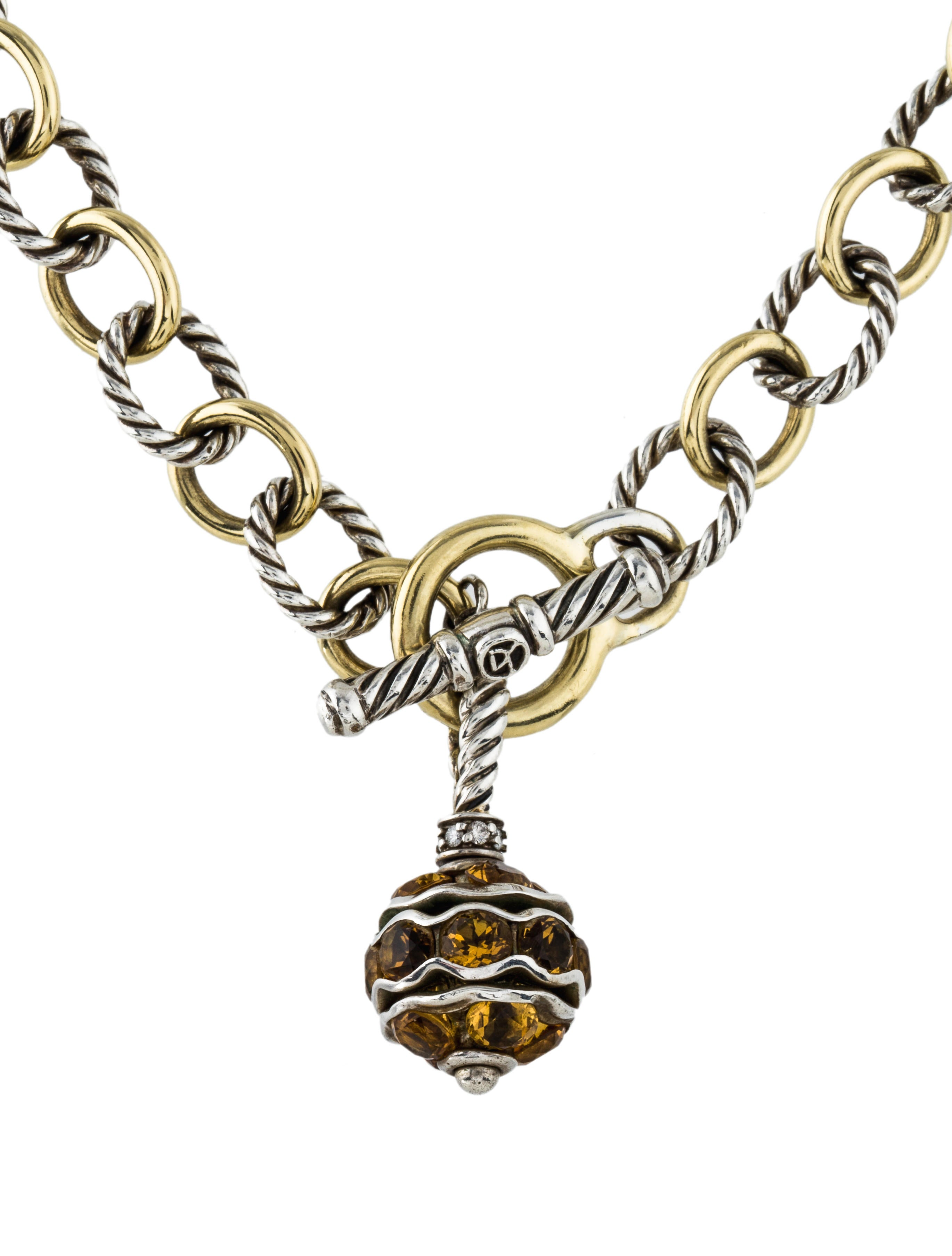 david yurman citrine amp diamond pendant necklace