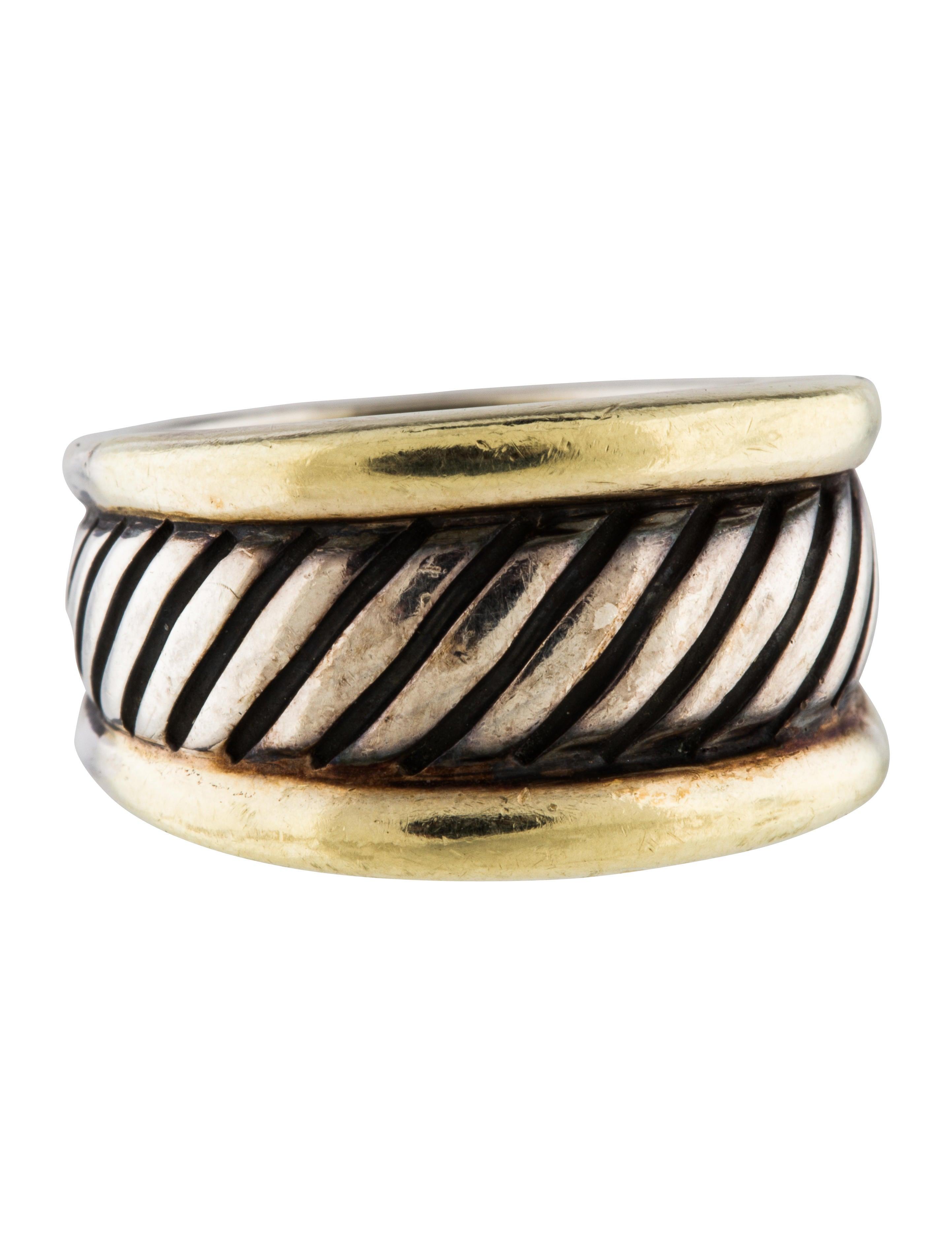David yurman two tone cable ring rings dvy43646 the for David yurman inspired jewelry rings