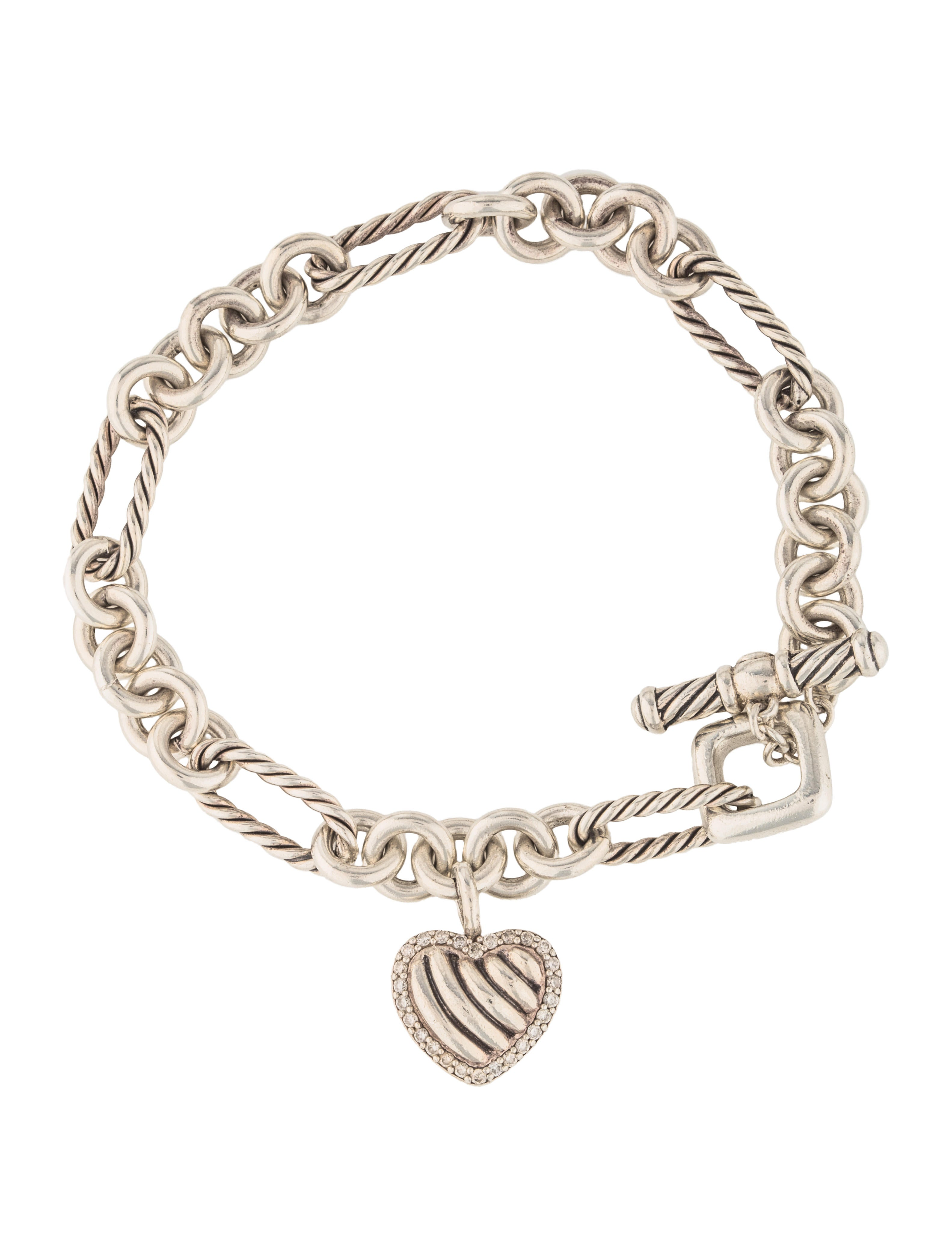 David yurman diamond cable heart toggle charm bracelet for David yurman inspired bracelet cable
