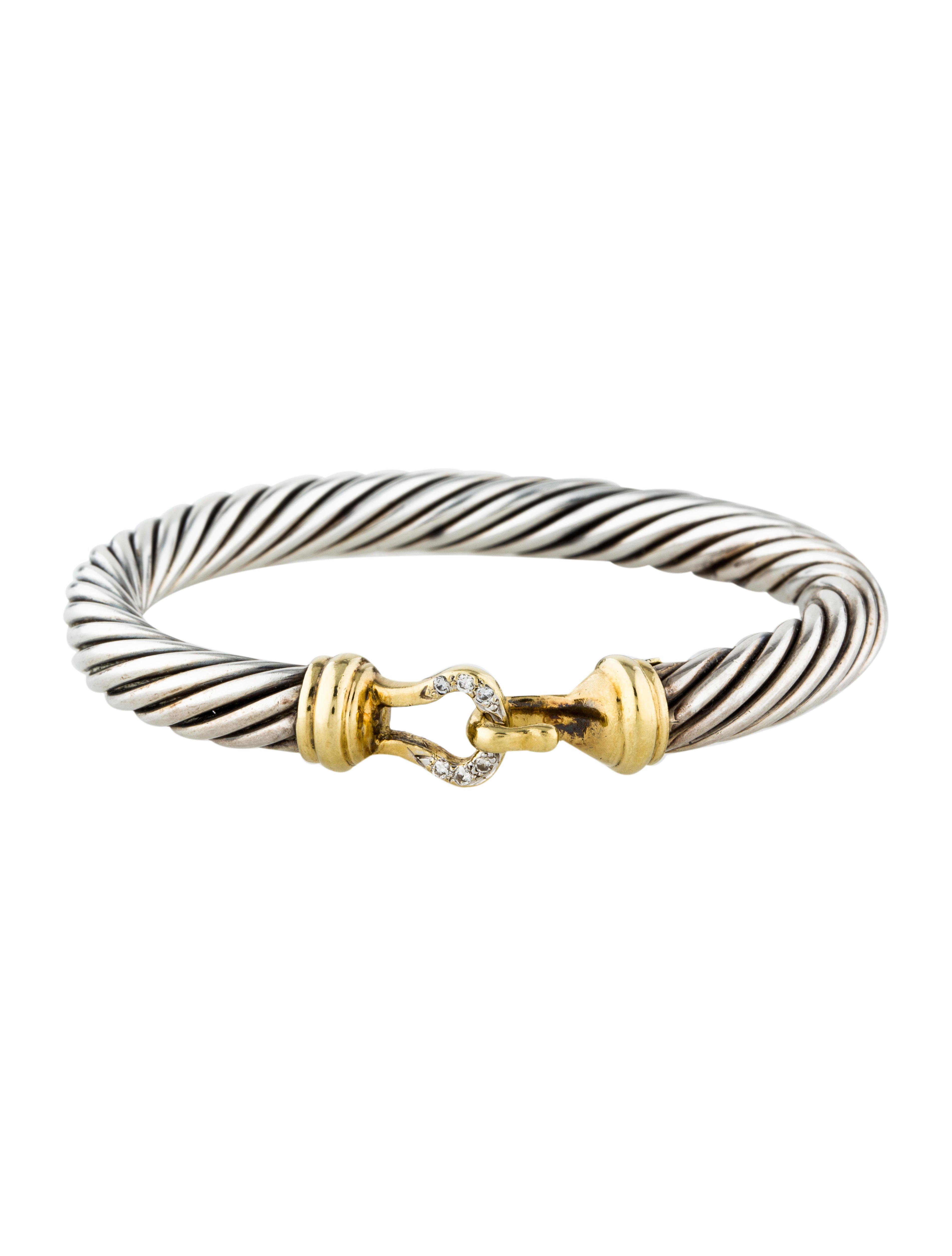 Jewelry Bracelets David Yurman Diamond Cable Buckle Bangle