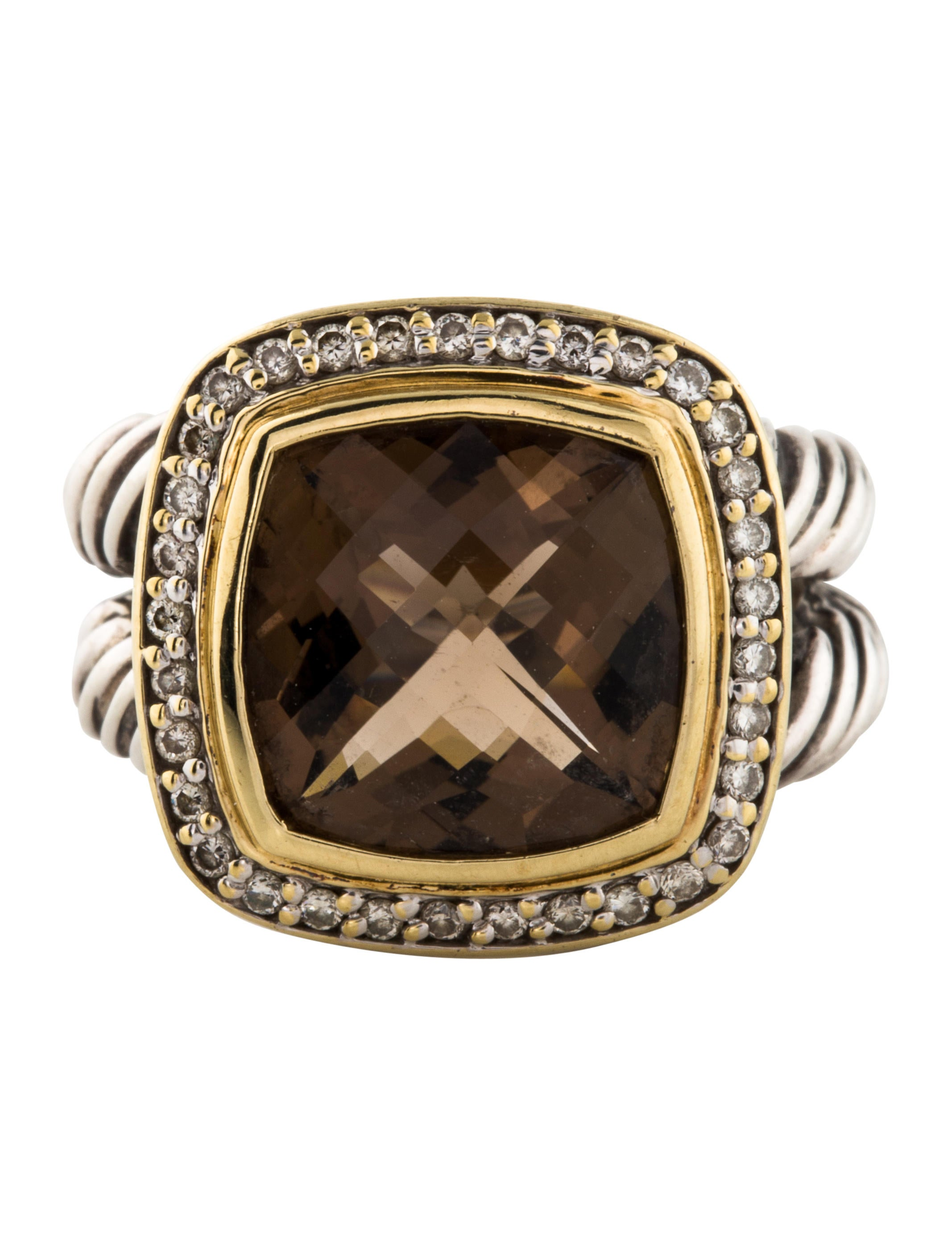 David Yurman Smoky Quartz Amp Diamond Albion Ring Rings