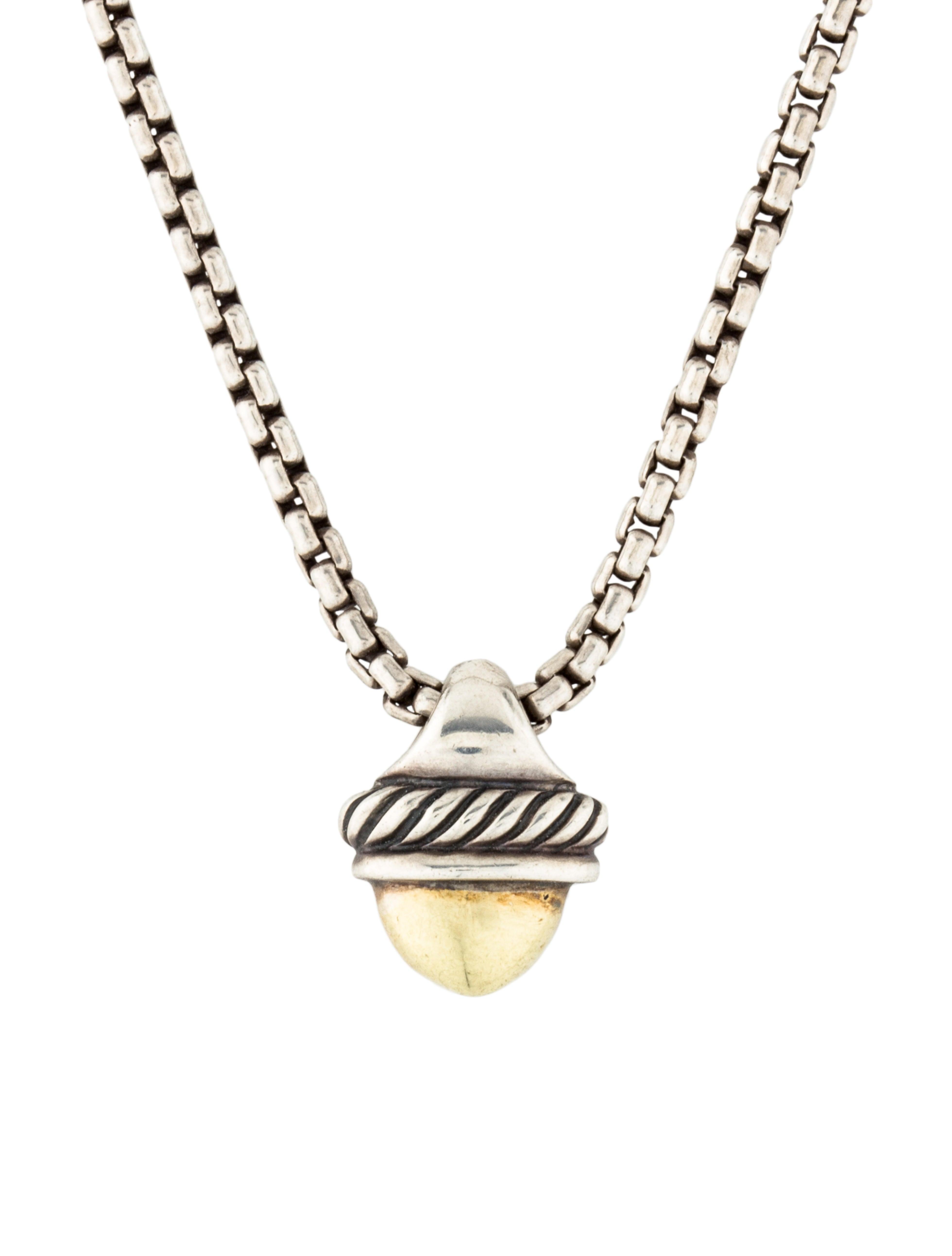 David yurman two tone acorn pendant necklace necklaces two tone acorn pendant necklace mozeypictures Image collections