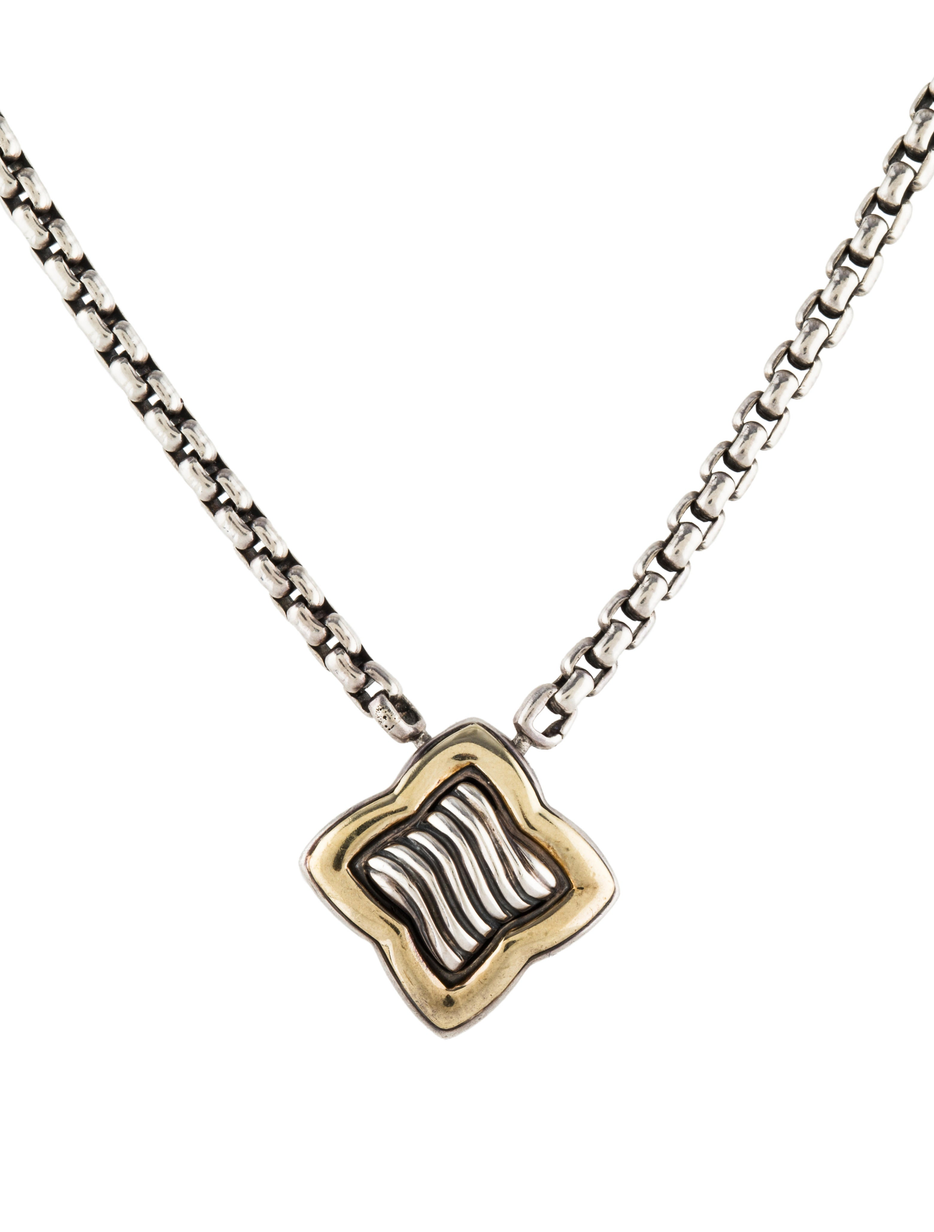 David yurman two tone quatrefoil pendant necklace necklaces two tone quatrefoil pendant necklace aloadofball Choice Image
