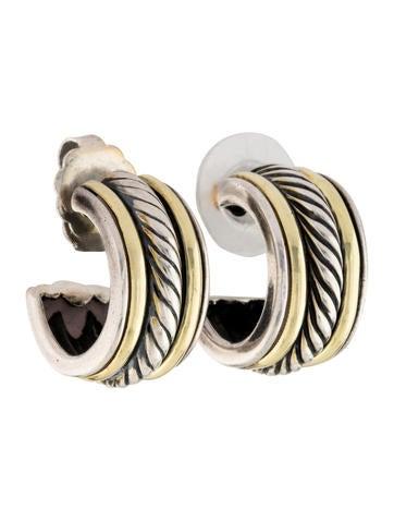 Two-Tone Cable Hoop Earrings