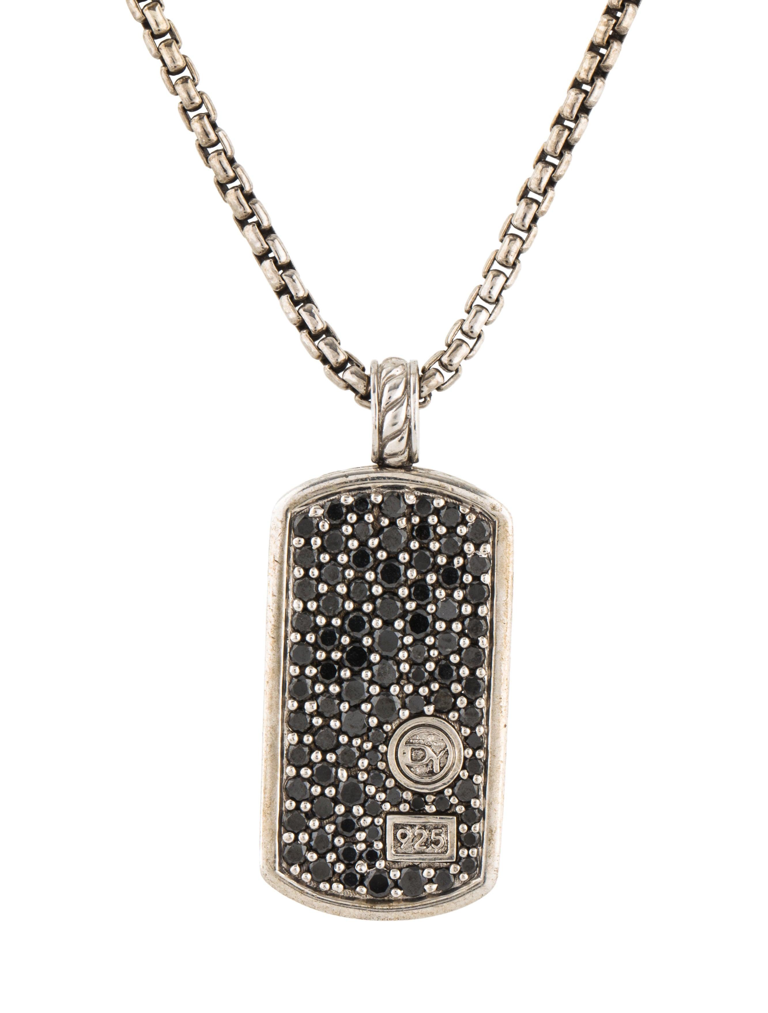 David yurman diamond dog tag pendant necklace necklaces dvy48217 diamond dog tag pendant necklace mozeypictures Images